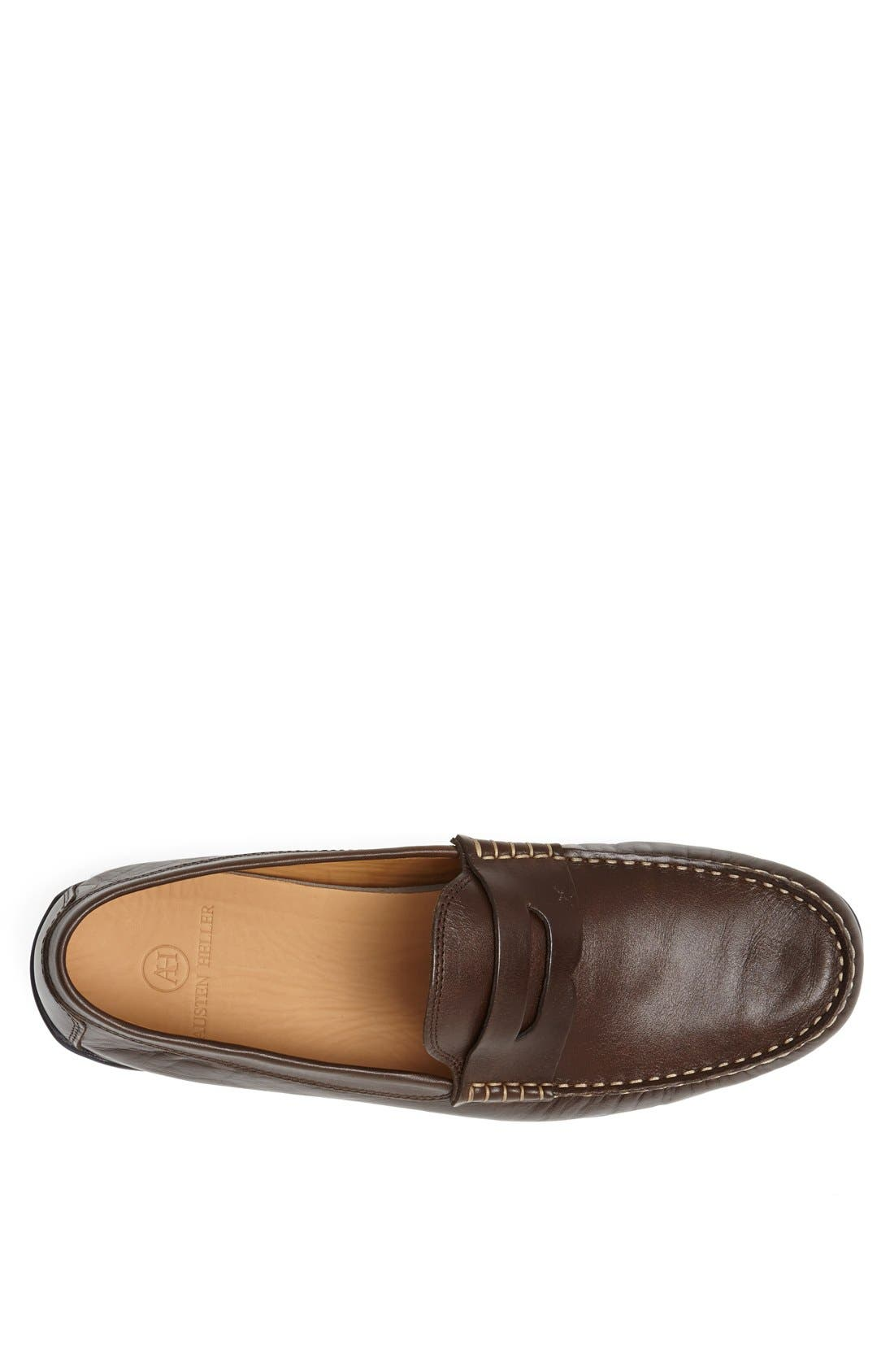 'Strattons' Driving Shoe,                             Alternate thumbnail 8, color,                             BROWN LEATHER/ NAVY