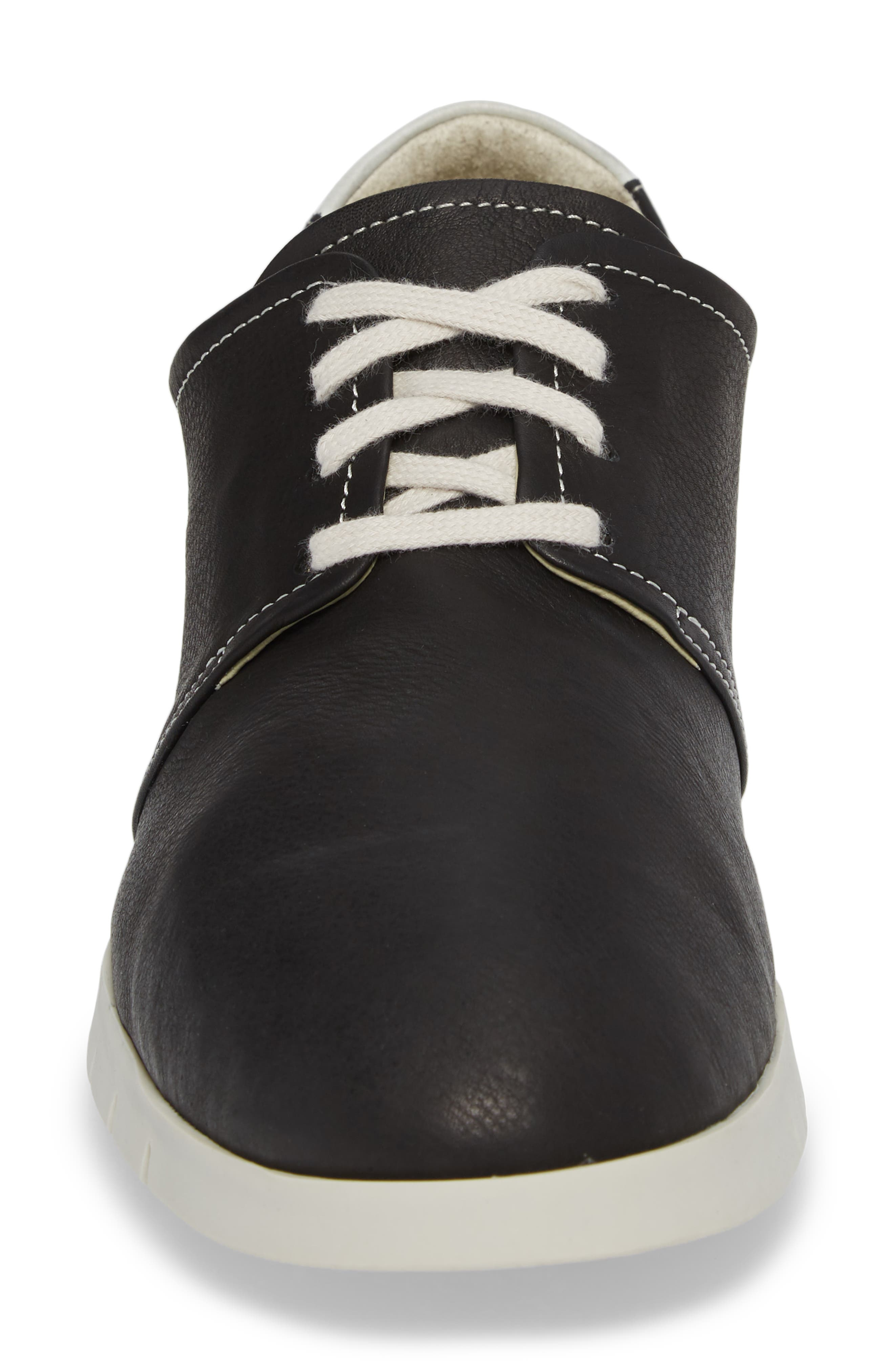Cap Low Top Sneaker,                             Alternate thumbnail 4, color,                             BLACK/ WHITE LEATHER