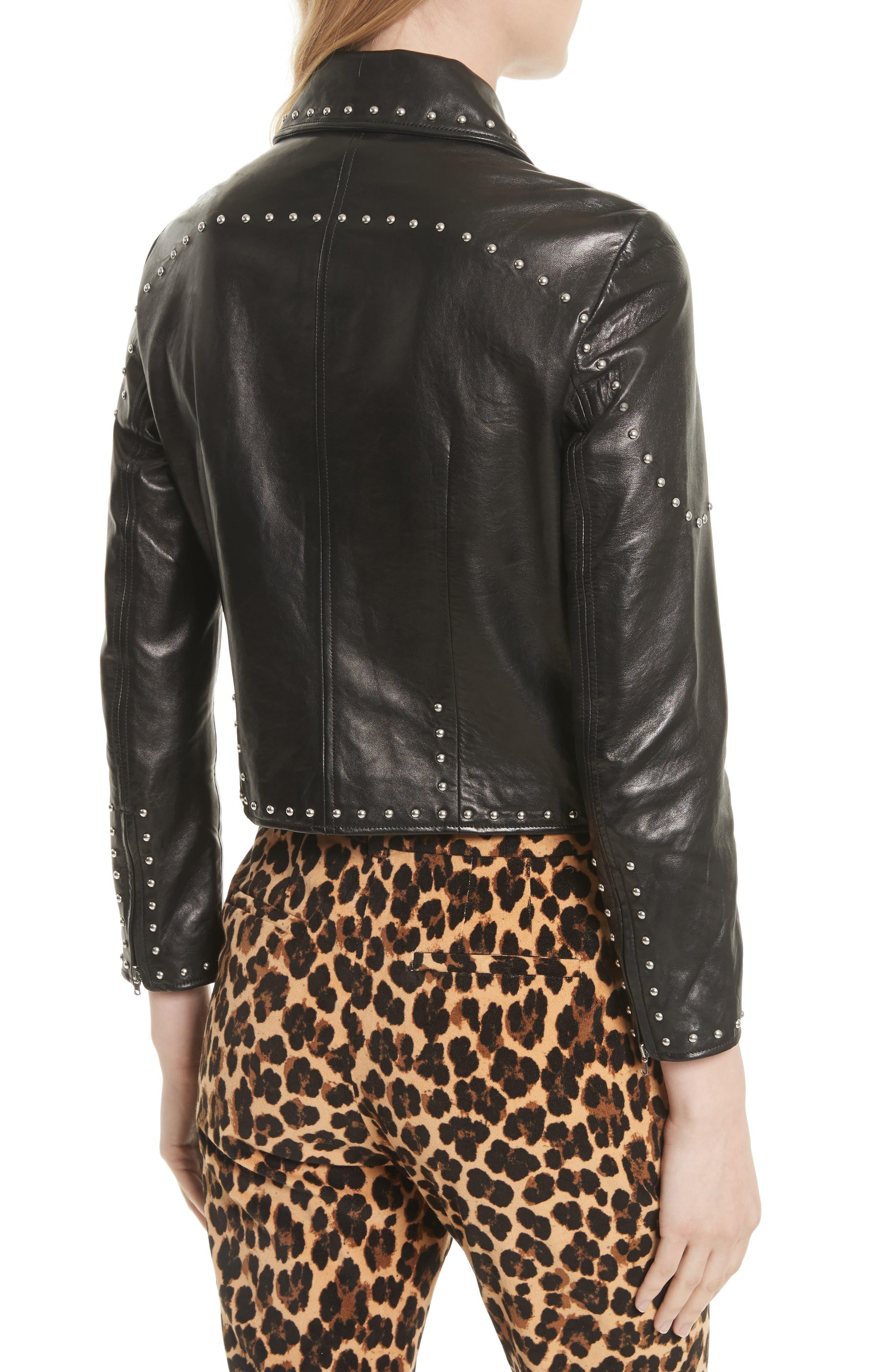 Studded Leather Jacket,                             Alternate thumbnail 2, color,                             001