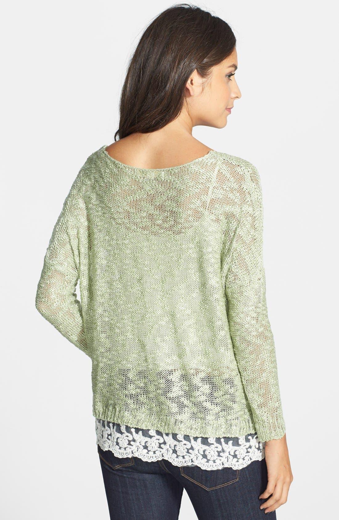 LOVE BY DESIGN,                             Crochet Hem Sweater,                             Alternate thumbnail 3, color,                             330