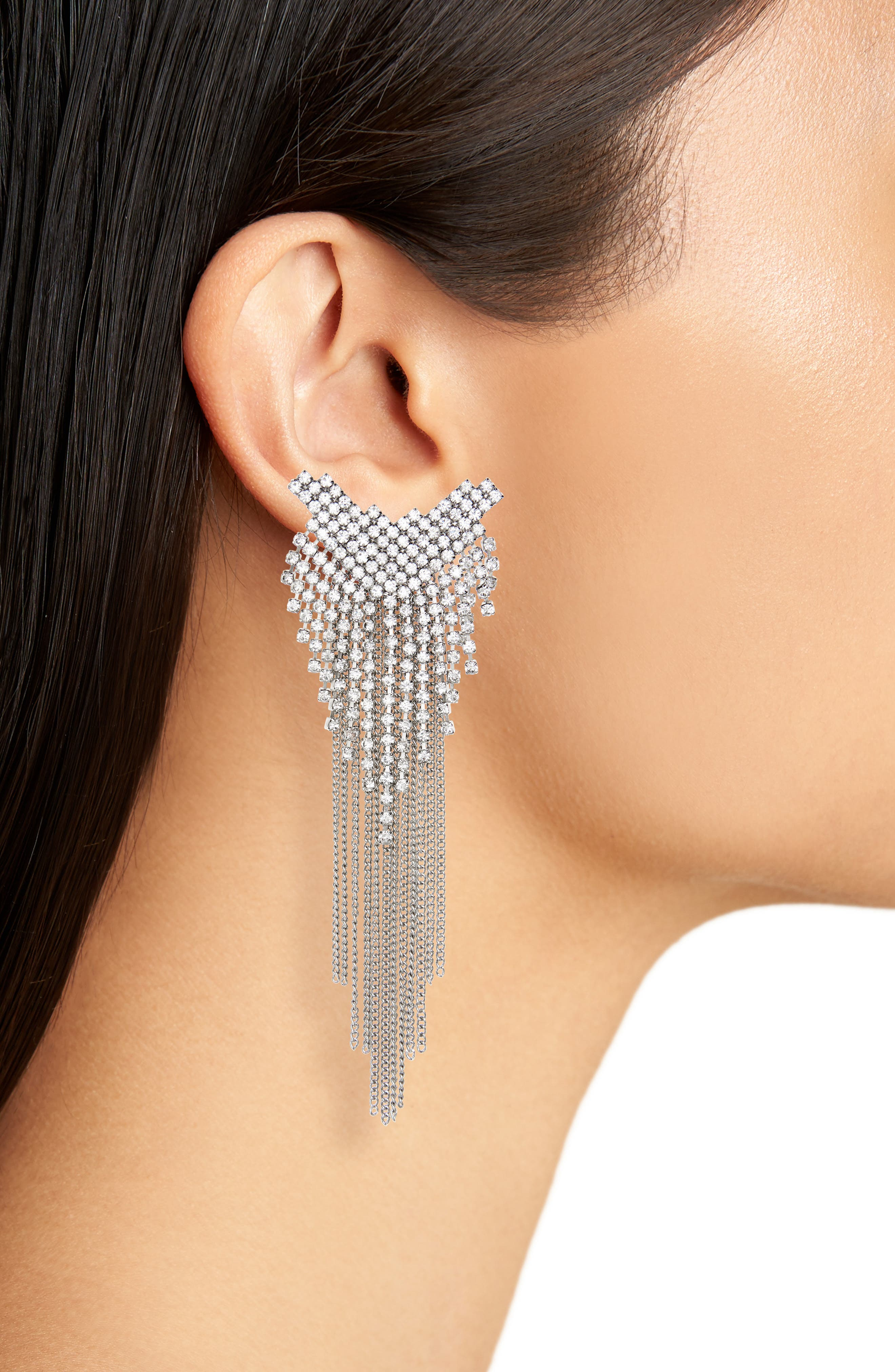Crystal Fringe Earrings,                             Alternate thumbnail 2, color,                             SILVER/ CRYSTAL