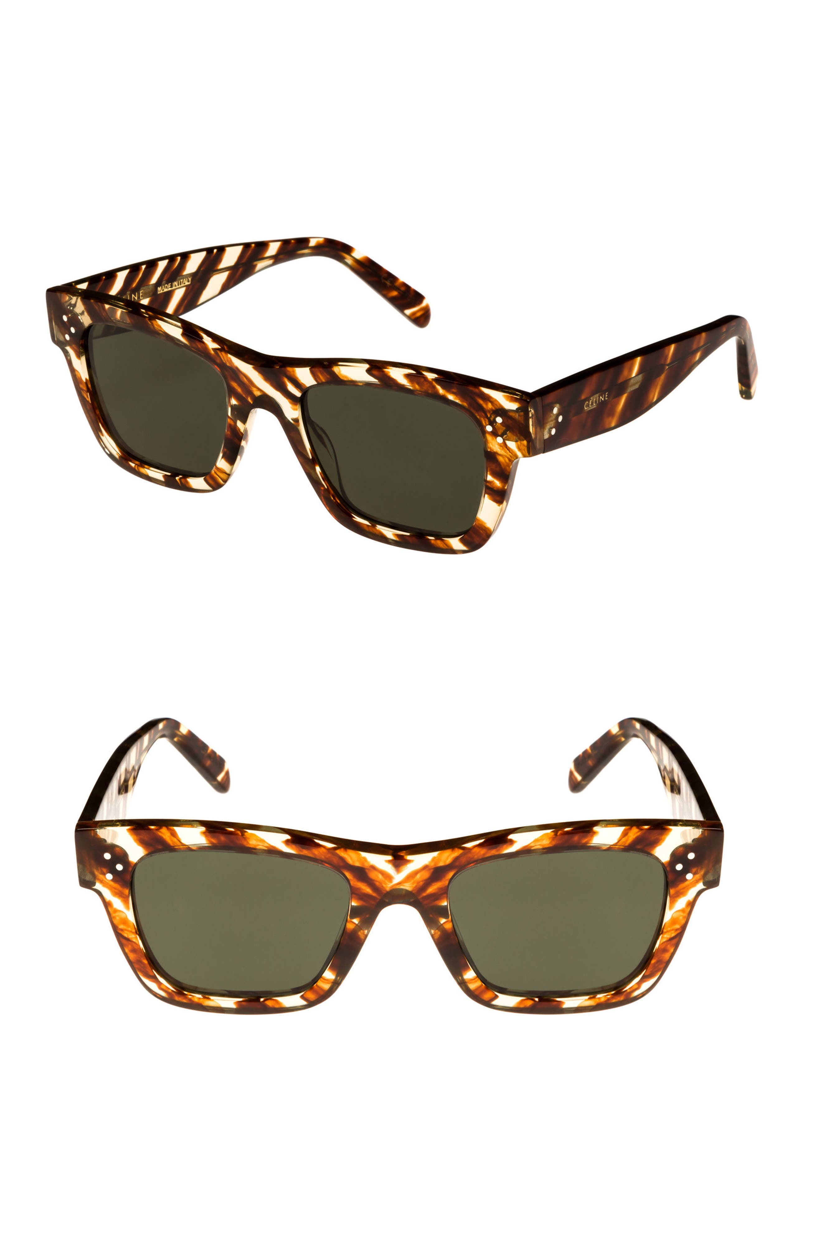 51mm Rectangular Sunglasses,                         Main,                         color, STRIPED COGNAC HAVANA/ GREEN