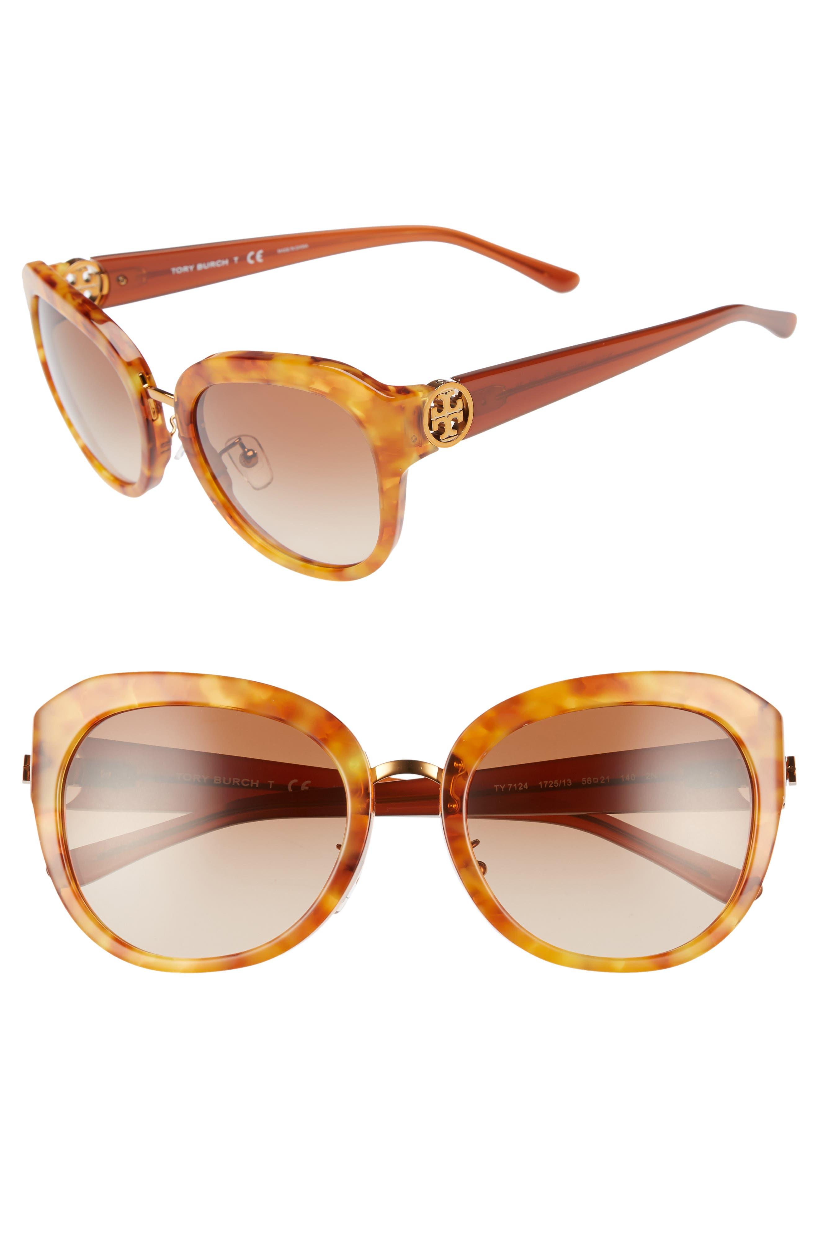 Irregular Reva 56mm Sunglasses,                         Main,                         color, AMBER GRADIENT