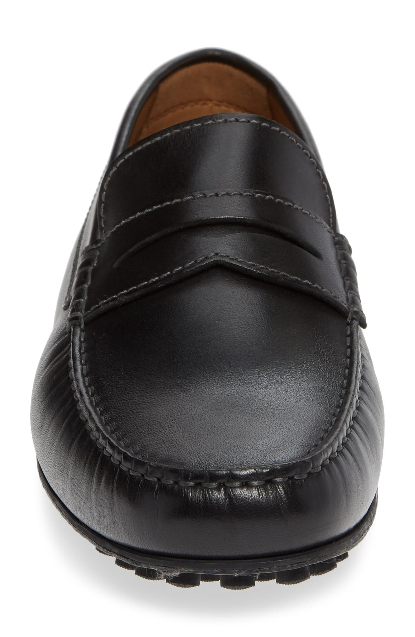 Le Mans Penny Driving Moccasin,                             Alternate thumbnail 4, color,                             BLACK LEATHER