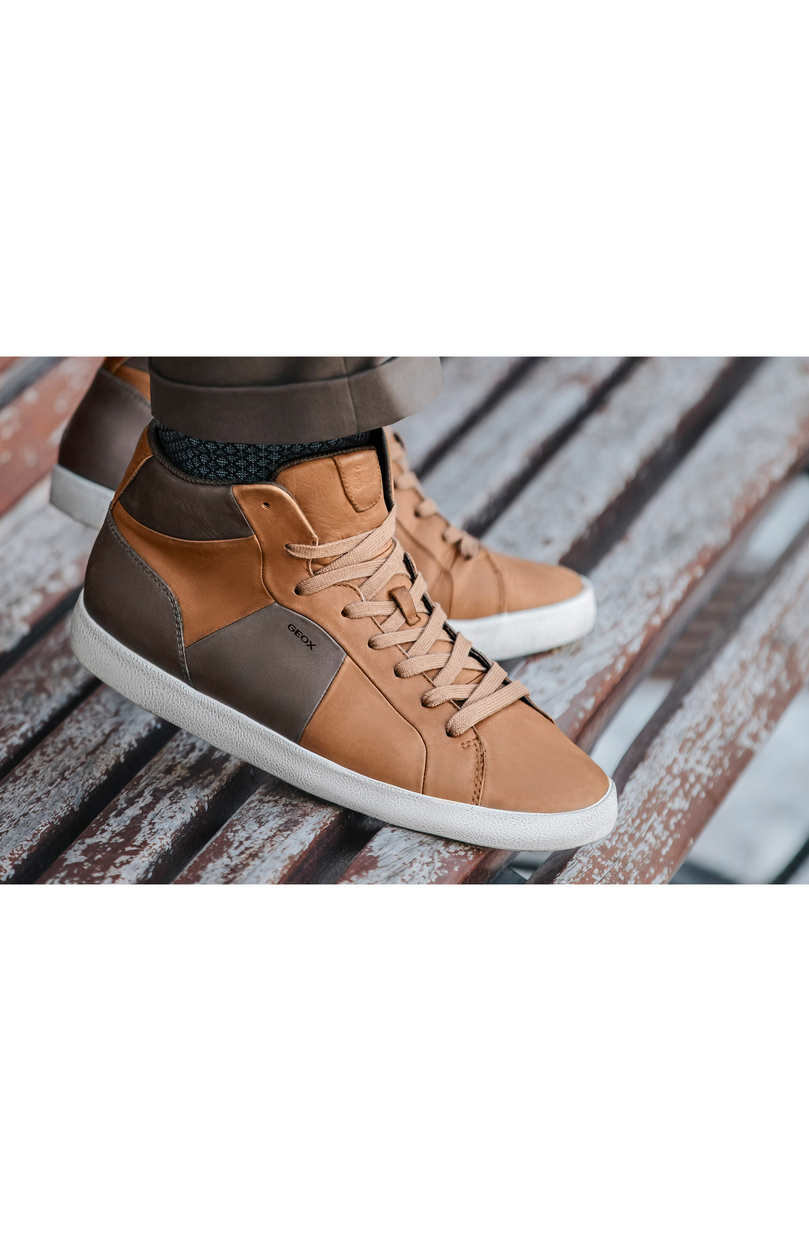 Smart 84 High Top Sneaker,                             Alternate thumbnail 7, color,                             COGNAC/ COFFEE LEATHER