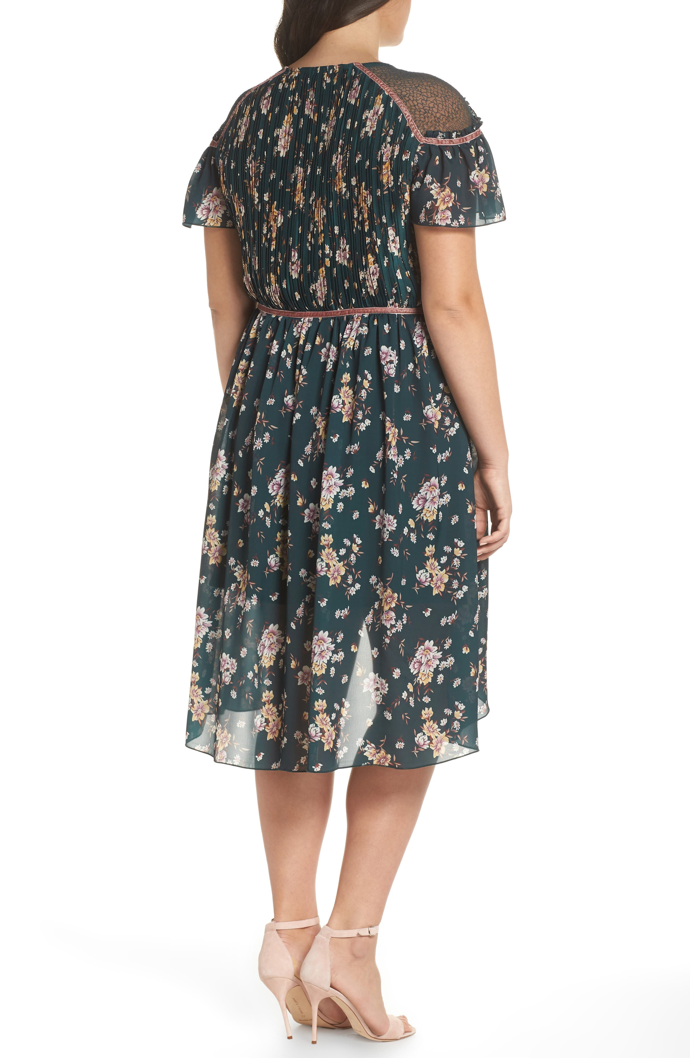 Floral Pleat & Lace Mix Dress,                             Alternate thumbnail 9, color,                             GREEN BRANCHING LILIES