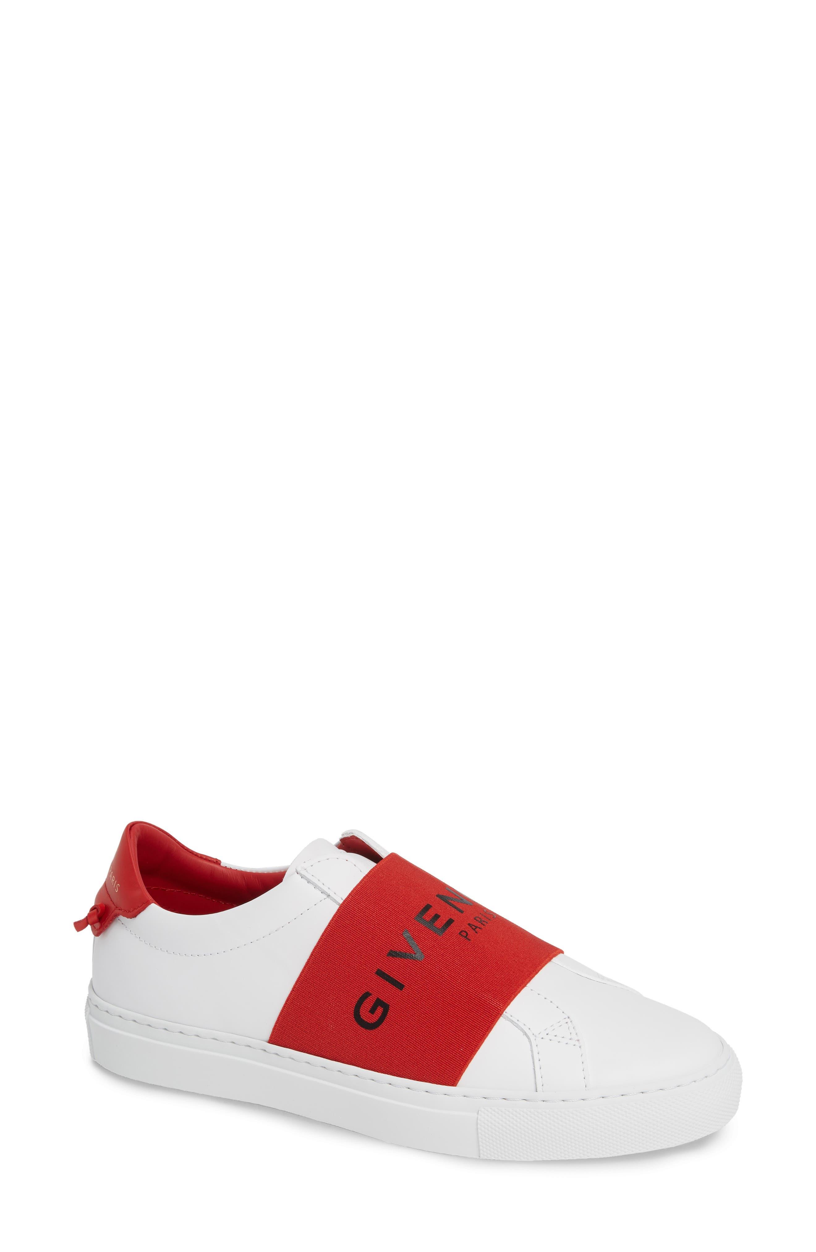 Logo Strap Slip-On Sneaker,                             Main thumbnail 1, color,                             WHITE/ RED