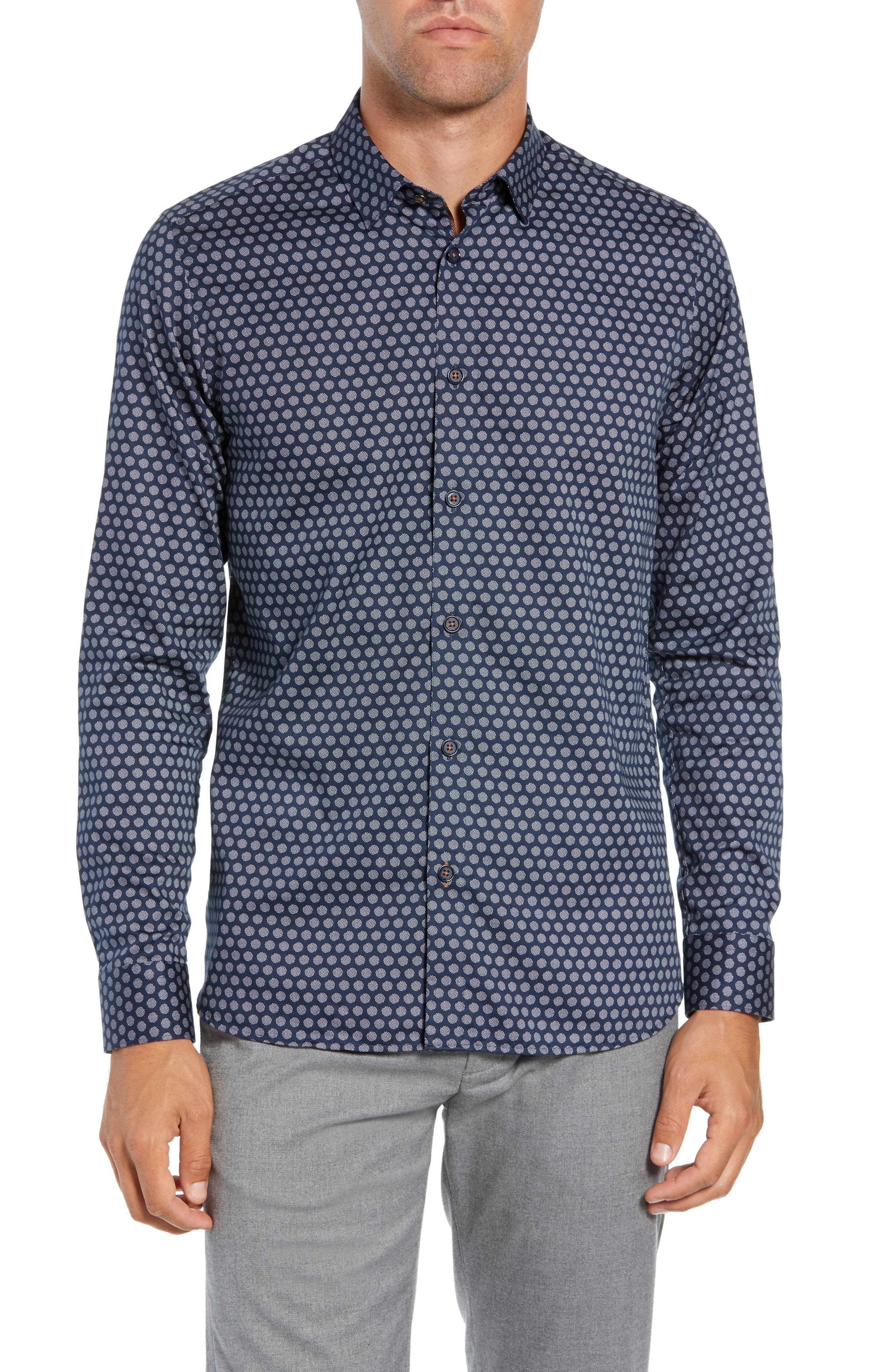Camdent Slim Fit Print Sport Shirt,                         Main,                         color, NAVY