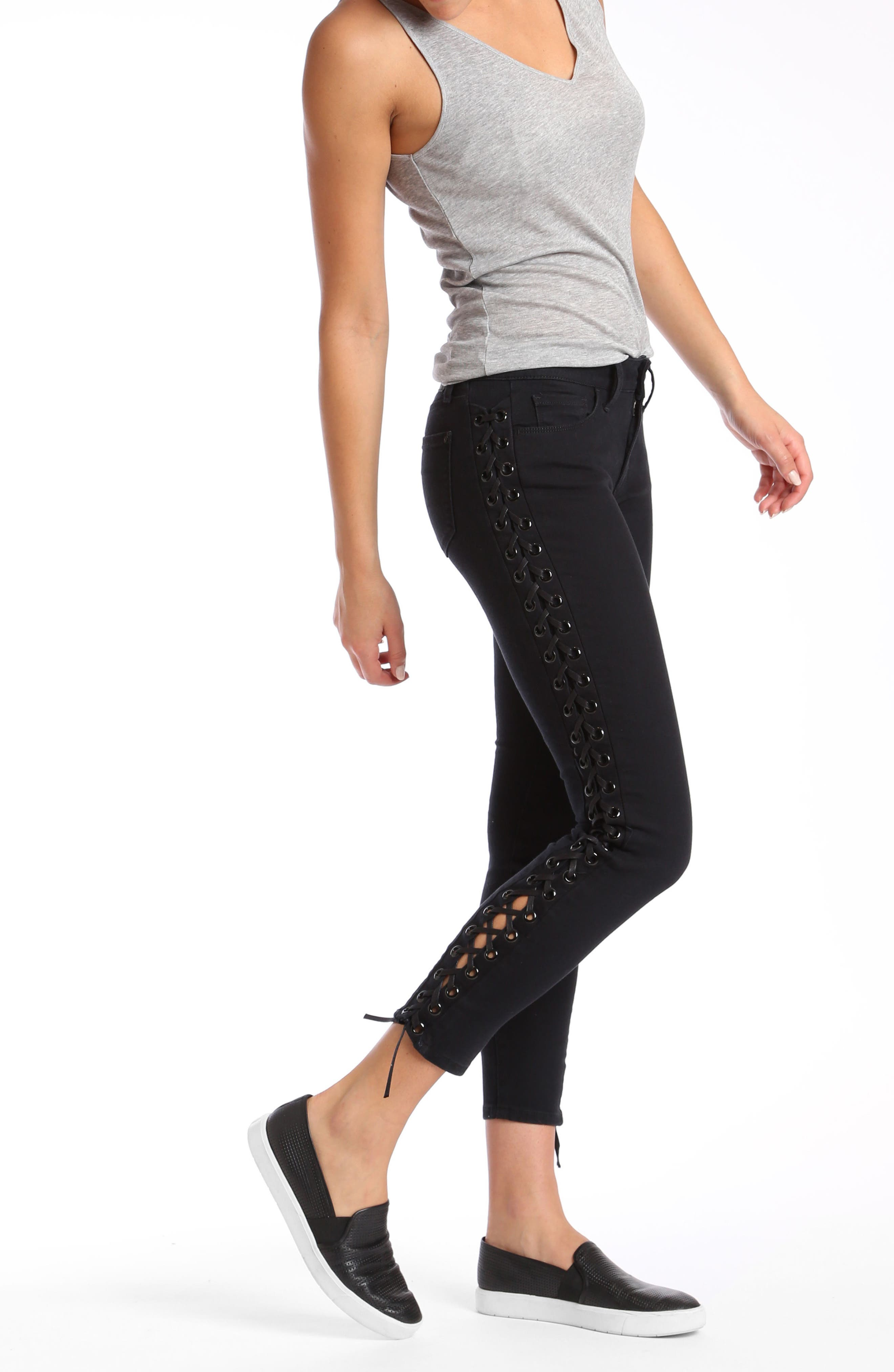 Adriana Lace-Up Super Skinny Jeans,                             Alternate thumbnail 7, color,                             001