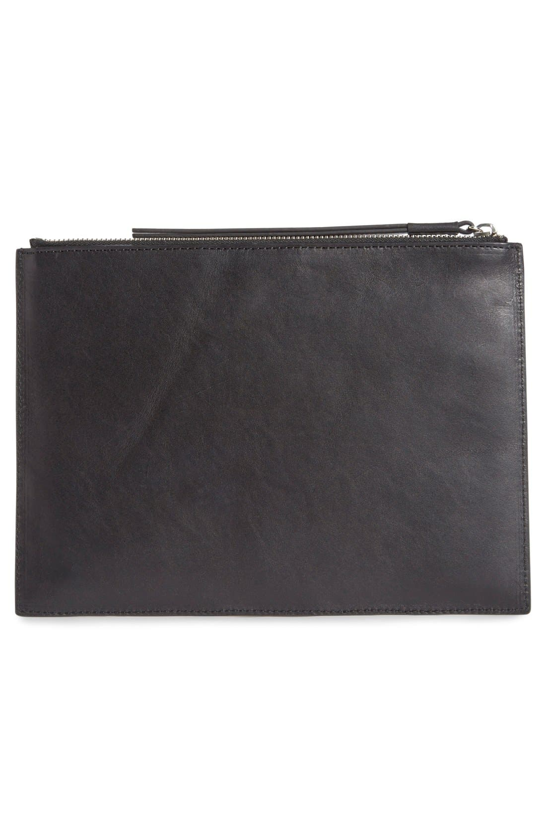 Flat Leather Pouch,                             Alternate thumbnail 3, color,                             001