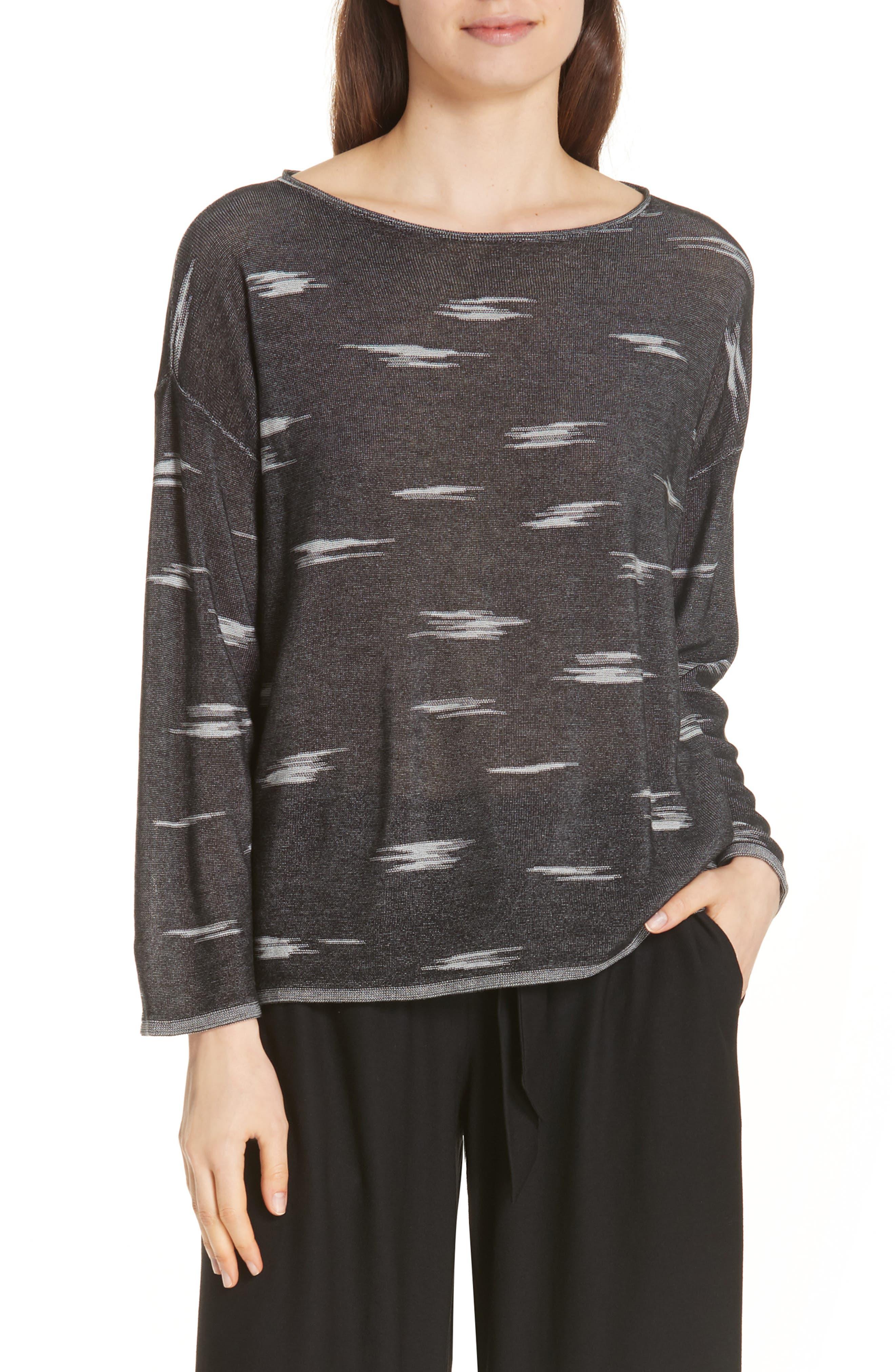 Bateau Neck Sweater,                         Main,                         color, 001