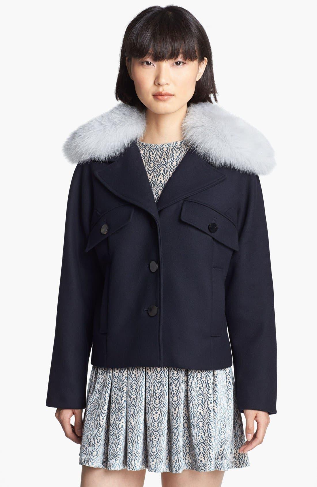 Wool Coat with Genuine Fox Fur Trim,                             Alternate thumbnail 4, color,                             410