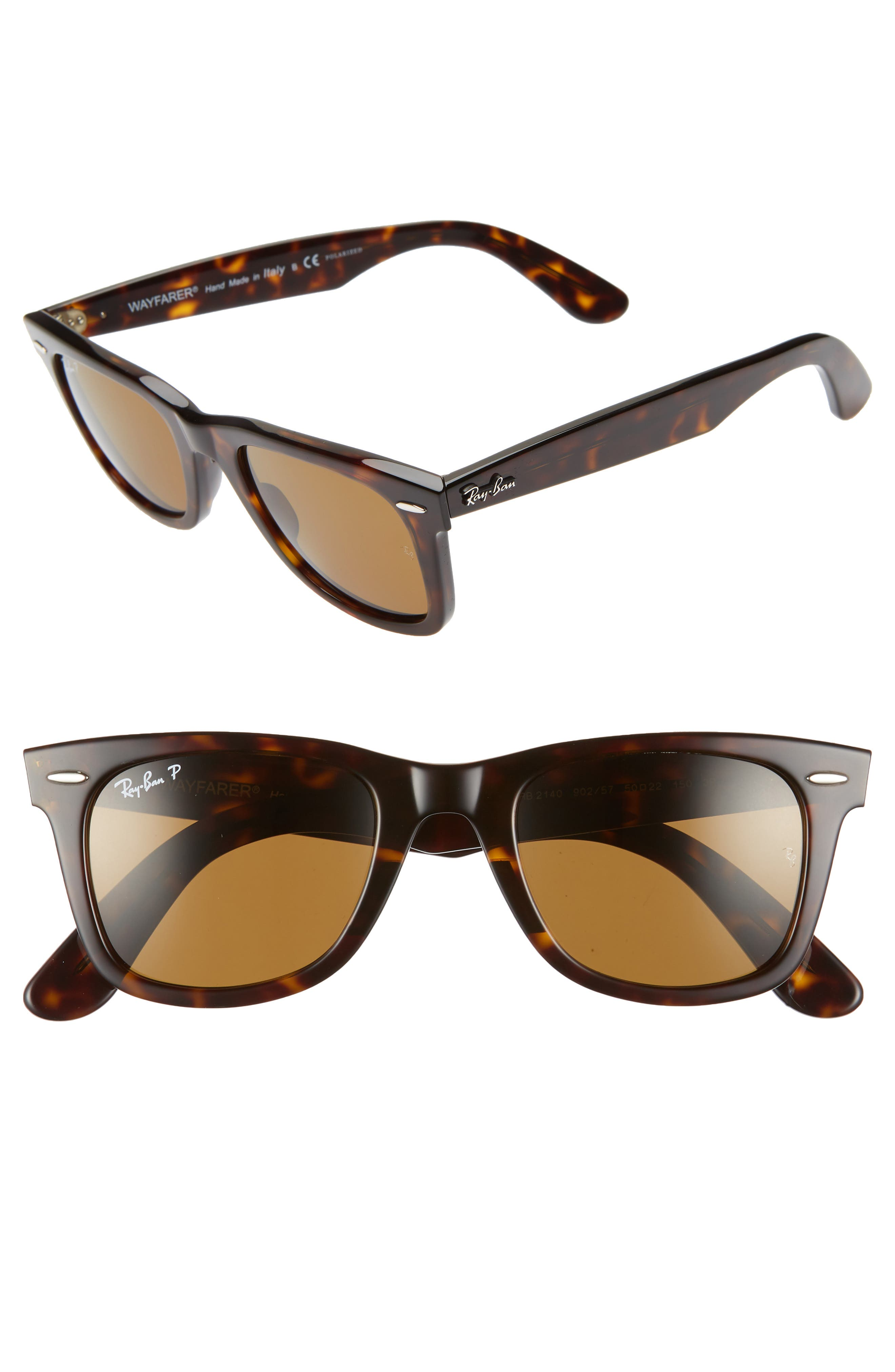 Standard Classic Wayfarer 50mm Polarized Sunglasses,                         Main,                         color, DARK TORTOISE/ BROWN SOLID