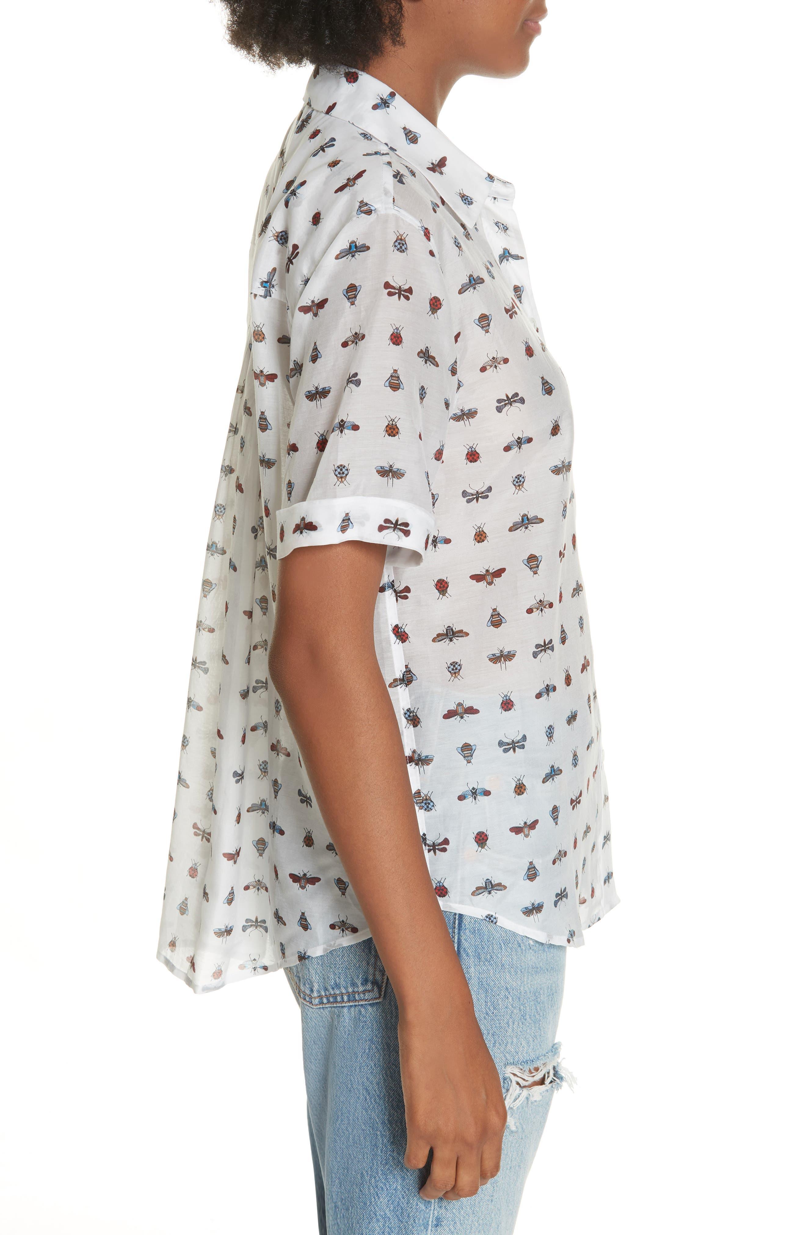 Elley Cotton & Silk Shirt,                             Alternate thumbnail 3, color,                             119