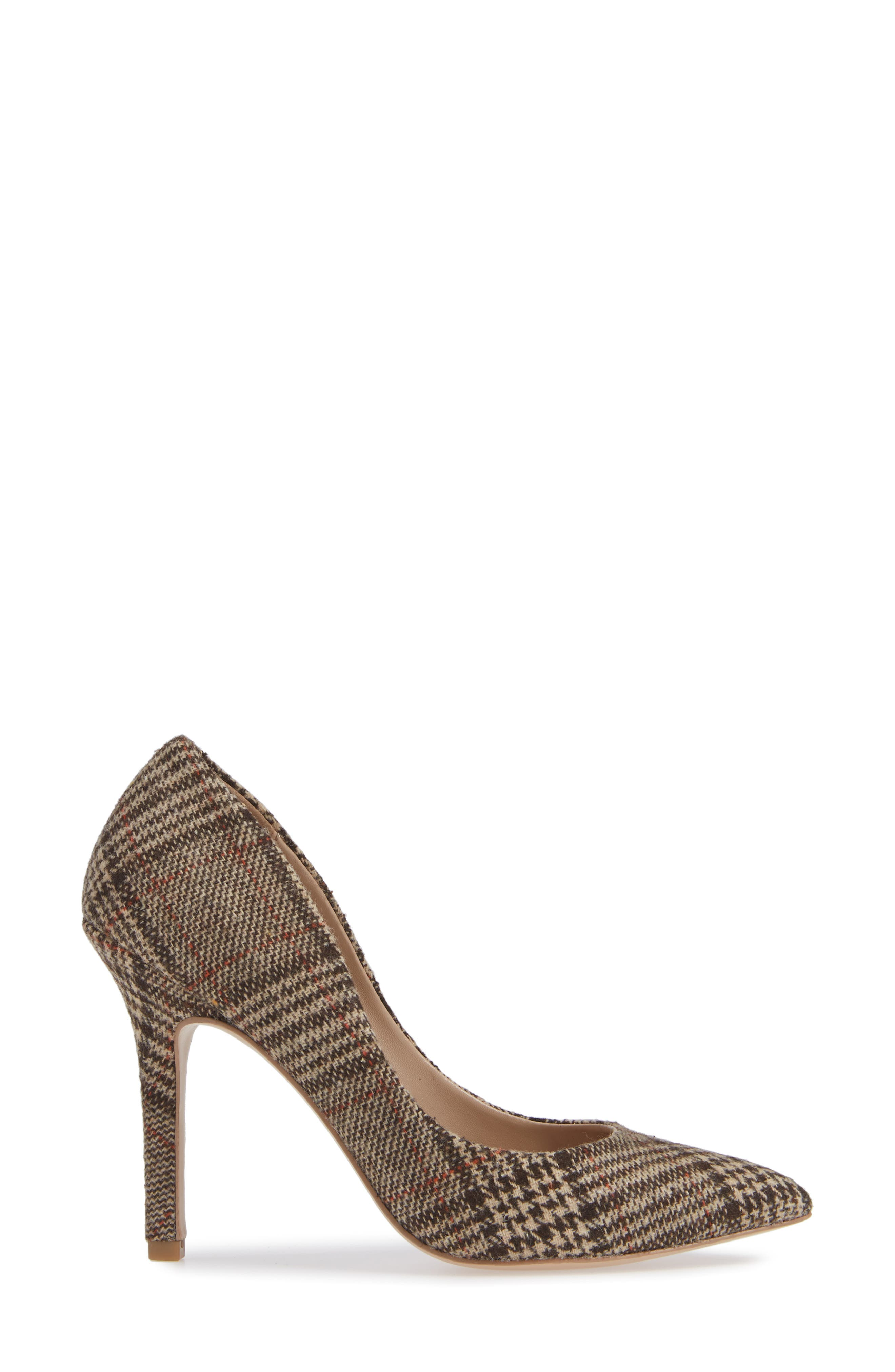 Maxx Pointy Toe Pump,                             Alternate thumbnail 3, color,                             BROWN PLAID FABRIC