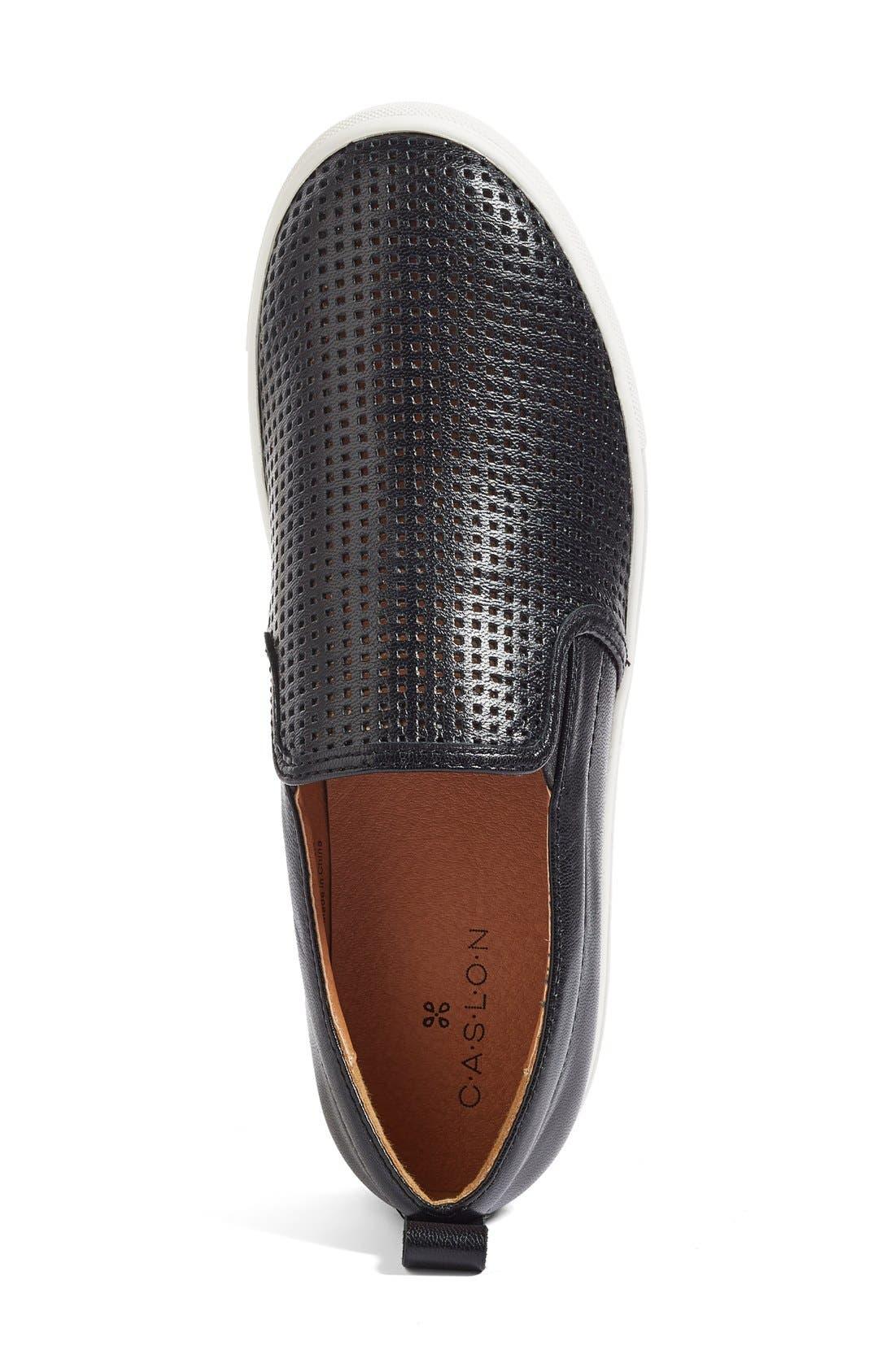 Eden Perforated Slip-On Sneaker,                             Alternate thumbnail 4, color,                             001