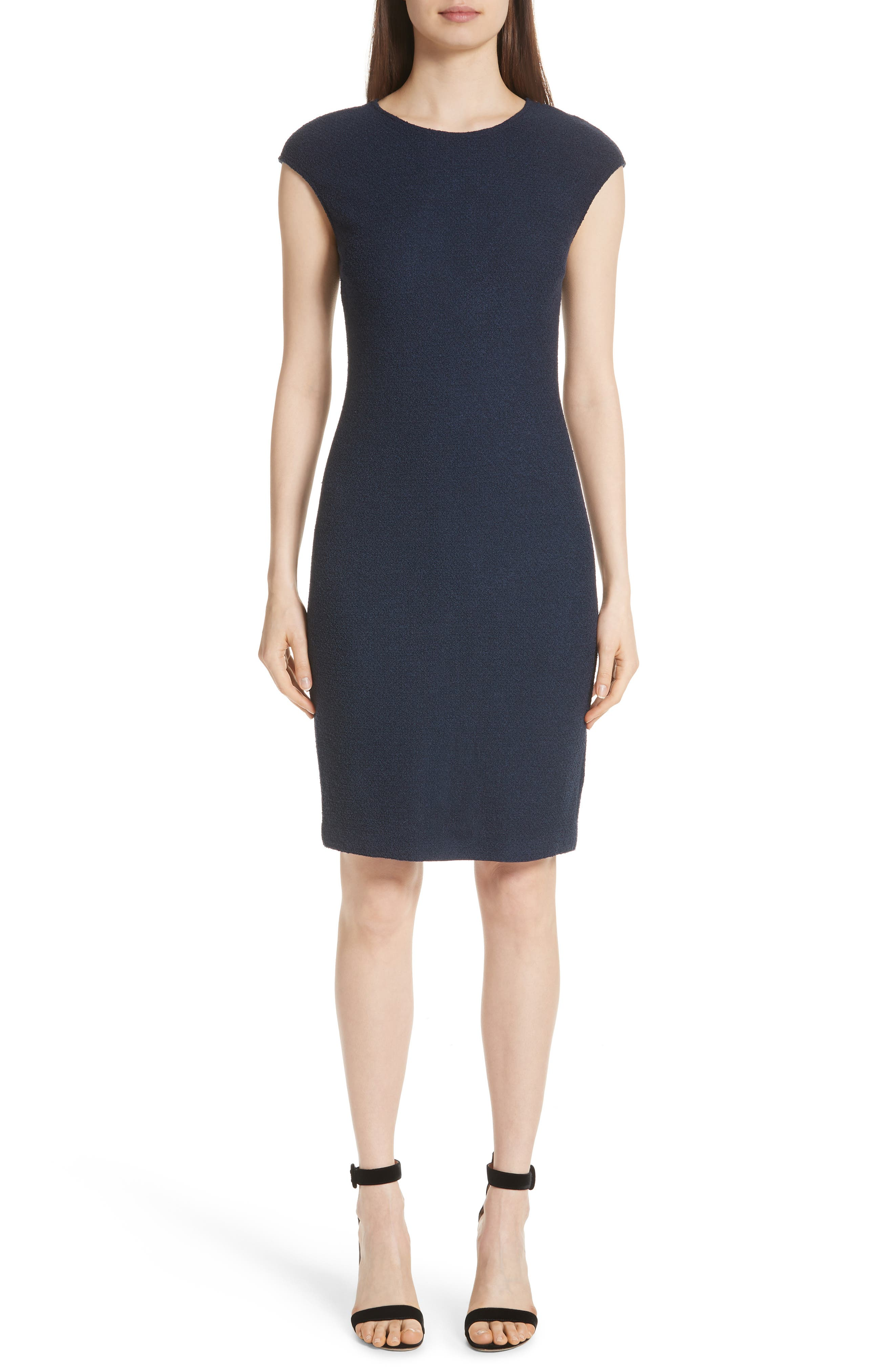 Ana Cap-Sleeve Boucle Knit Sheath Dress in Deep Blue