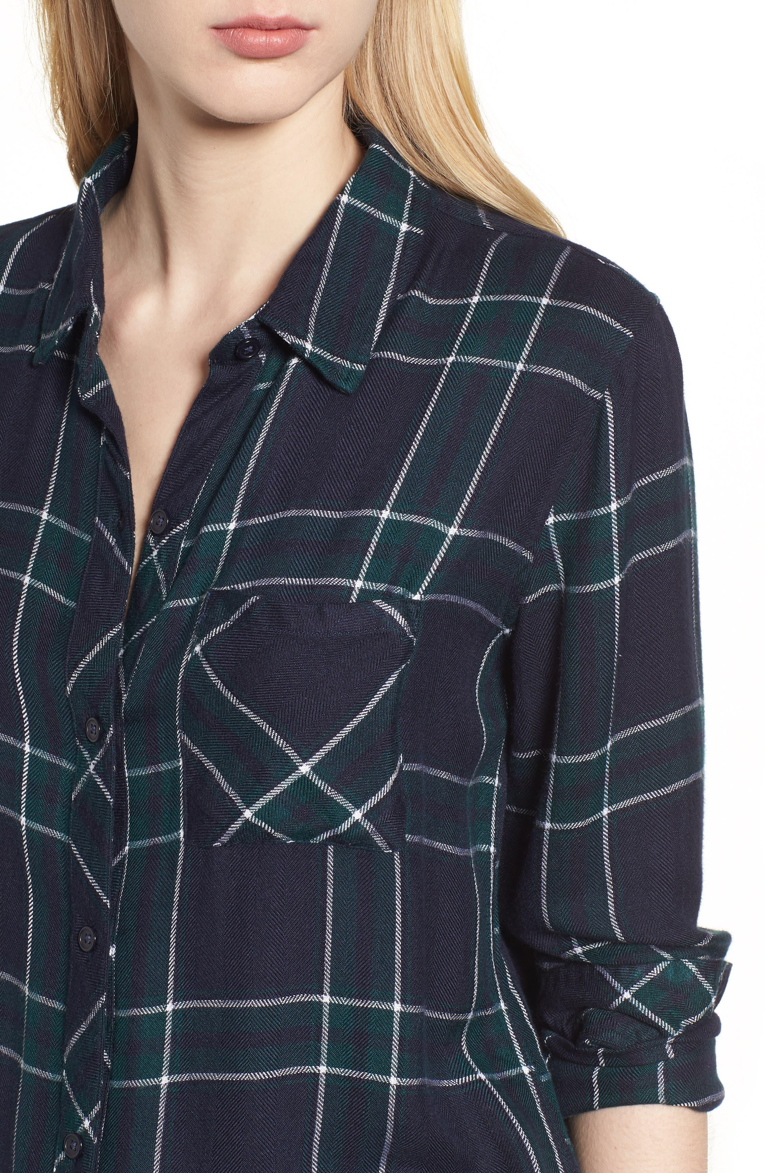 Hunter Plaid Shirt,                             Alternate thumbnail 4, color,                             MIDNIGHT FOREST WHITE