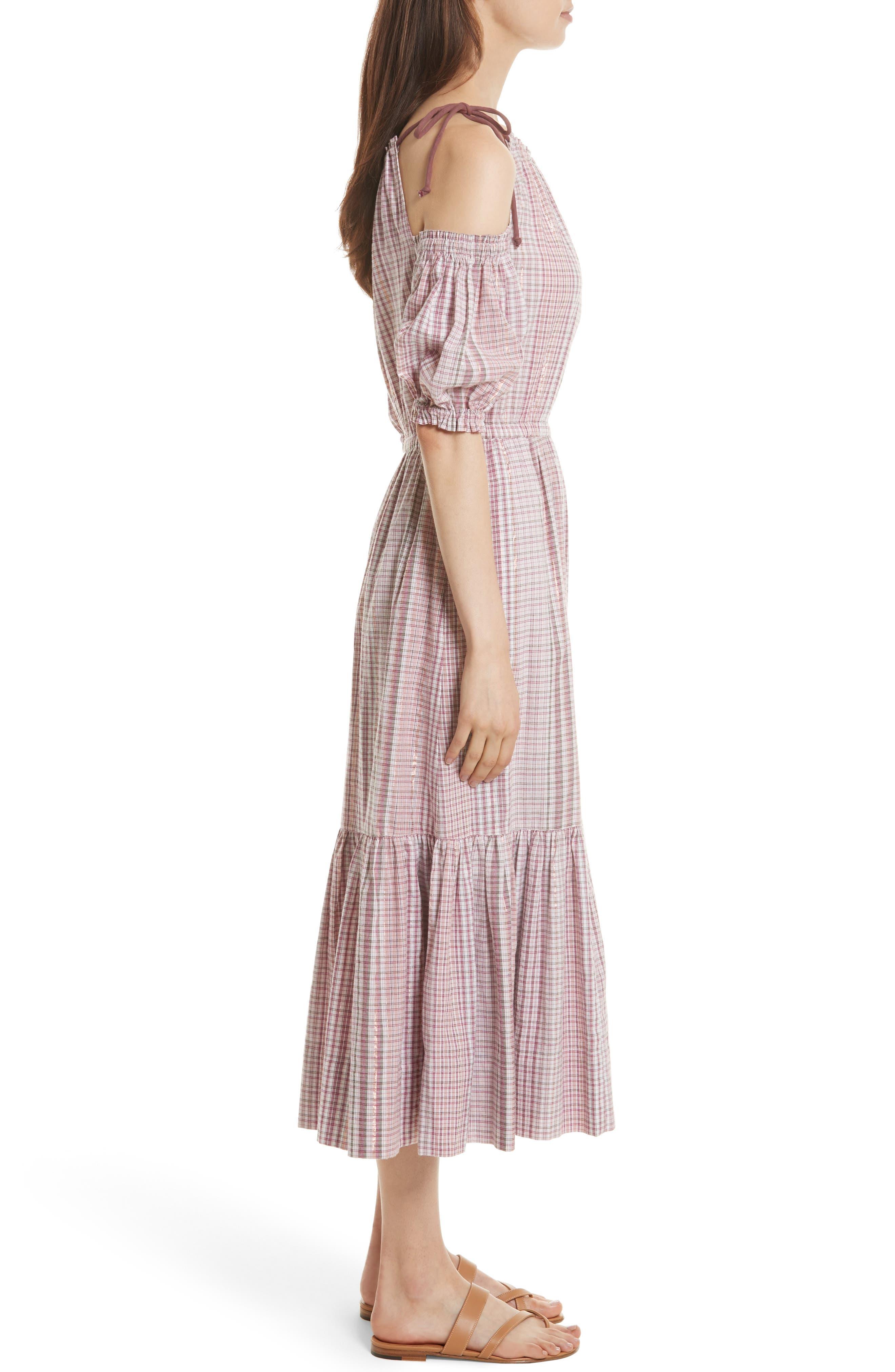 Cold Shoulder Lurex<sup>®</sup> Plaid Midi Dress,                             Alternate thumbnail 3, color,                             699