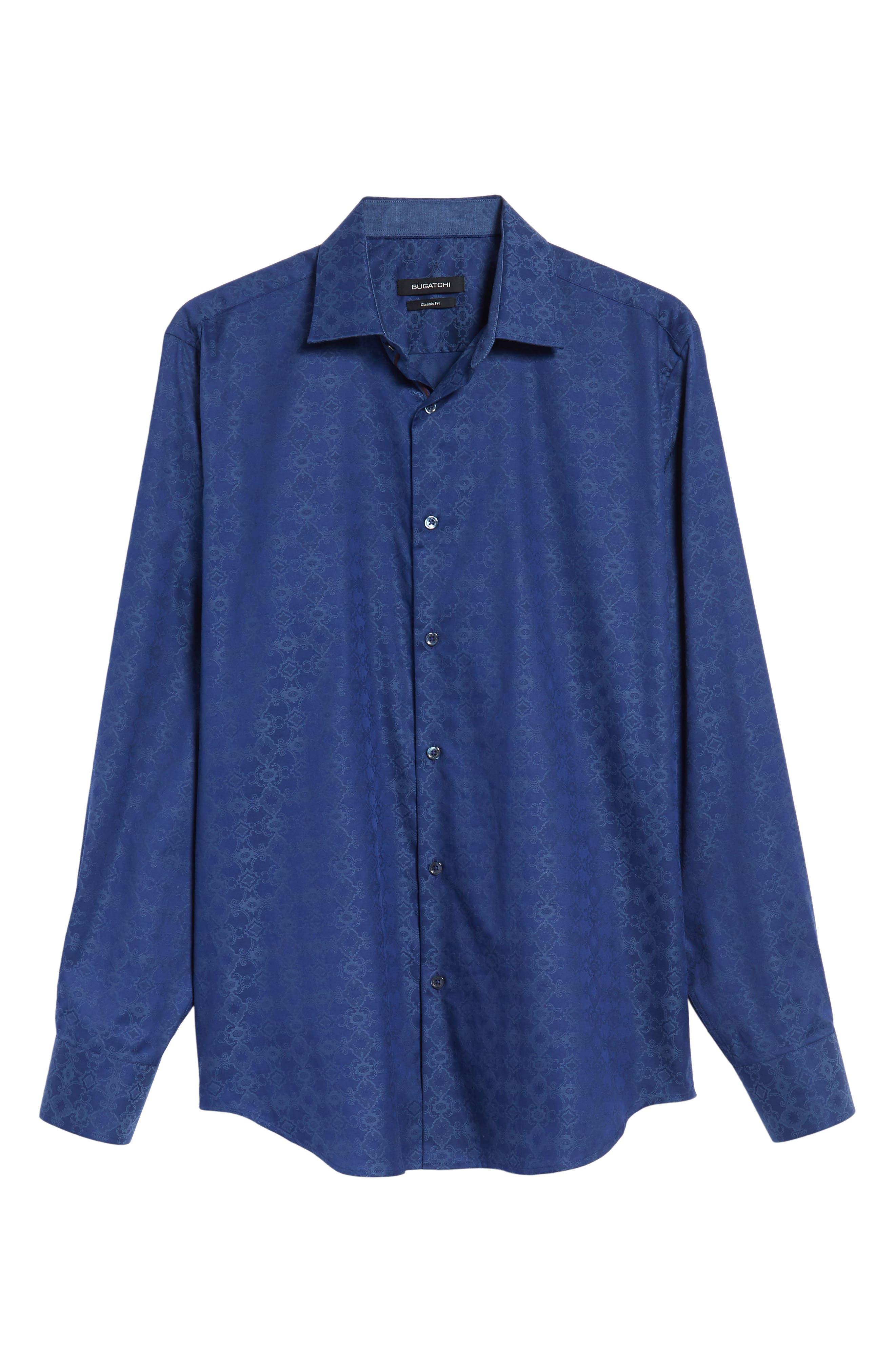 Classic Fit Filigree Jacquard Sport Shirt,                             Alternate thumbnail 6, color,