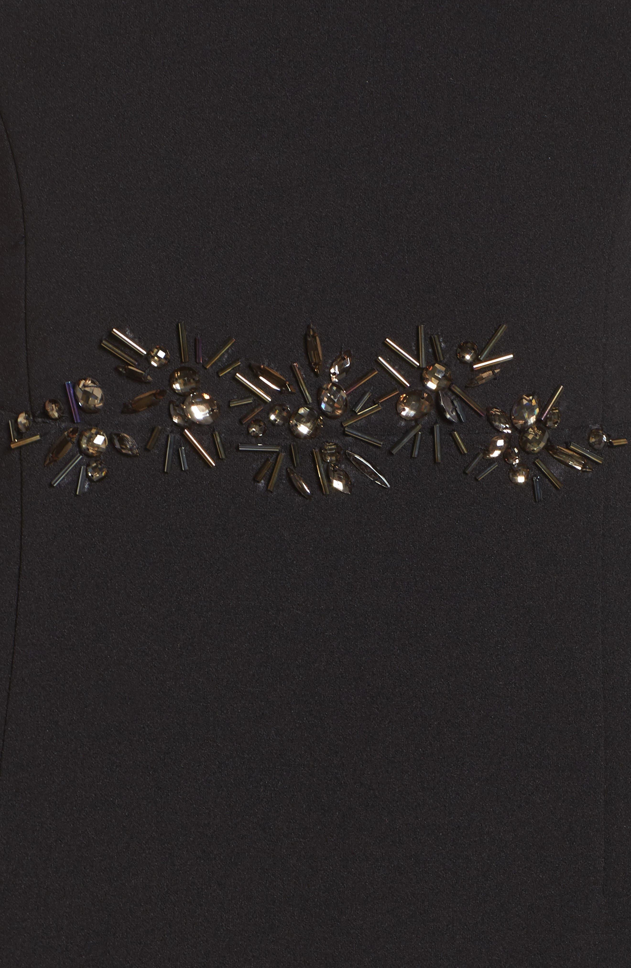 Embellished Knit Crepe Gown,                             Alternate thumbnail 5, color,                             002