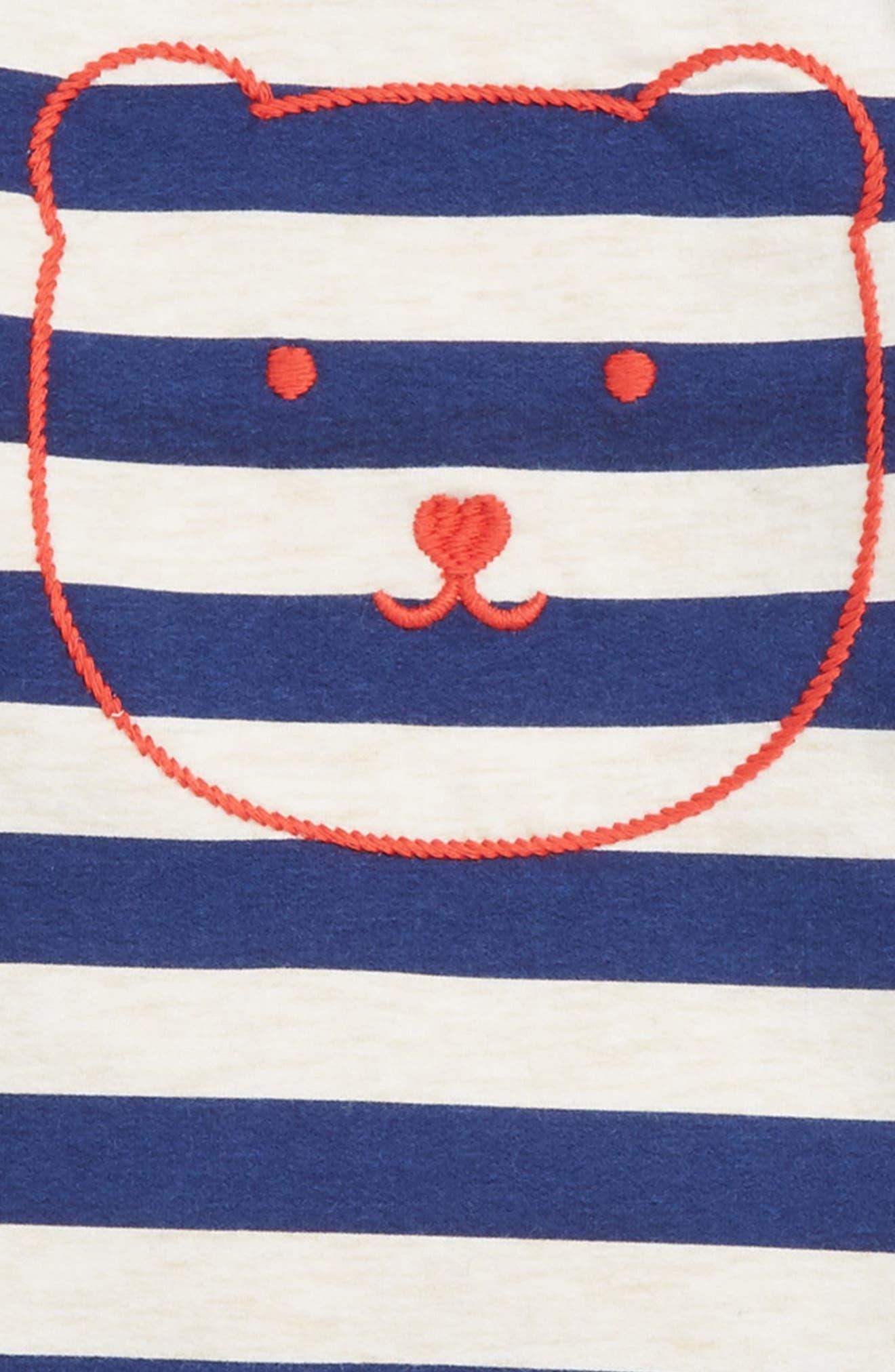 Embroidered Stripe Tunic & Leggings Set,                             Alternate thumbnail 2, color,                             BLUE DEPTHS- RED BEAR