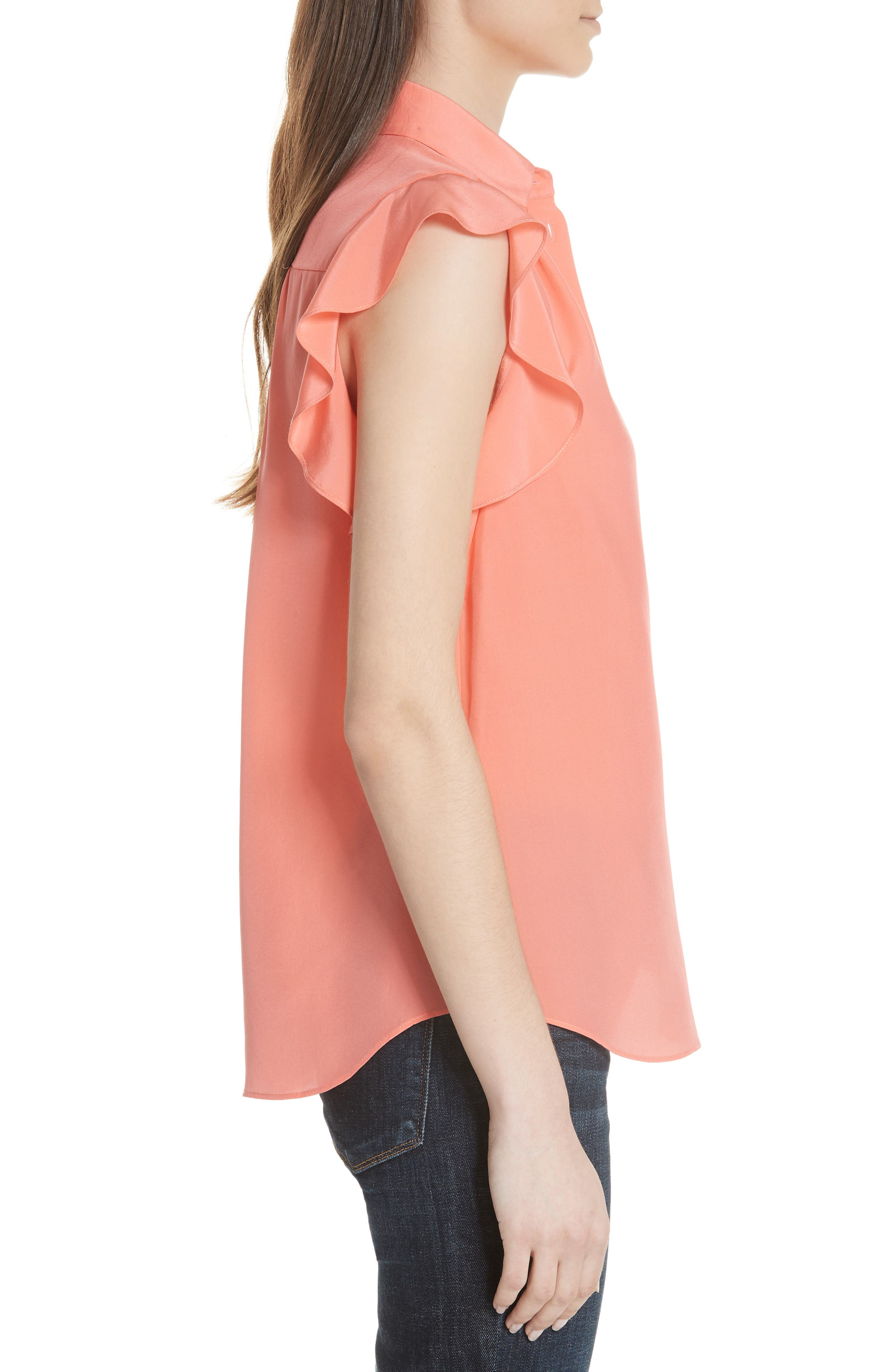 ruffle sleeve silk top,                             Alternate thumbnail 3, color,                             APRICOT SORBET
