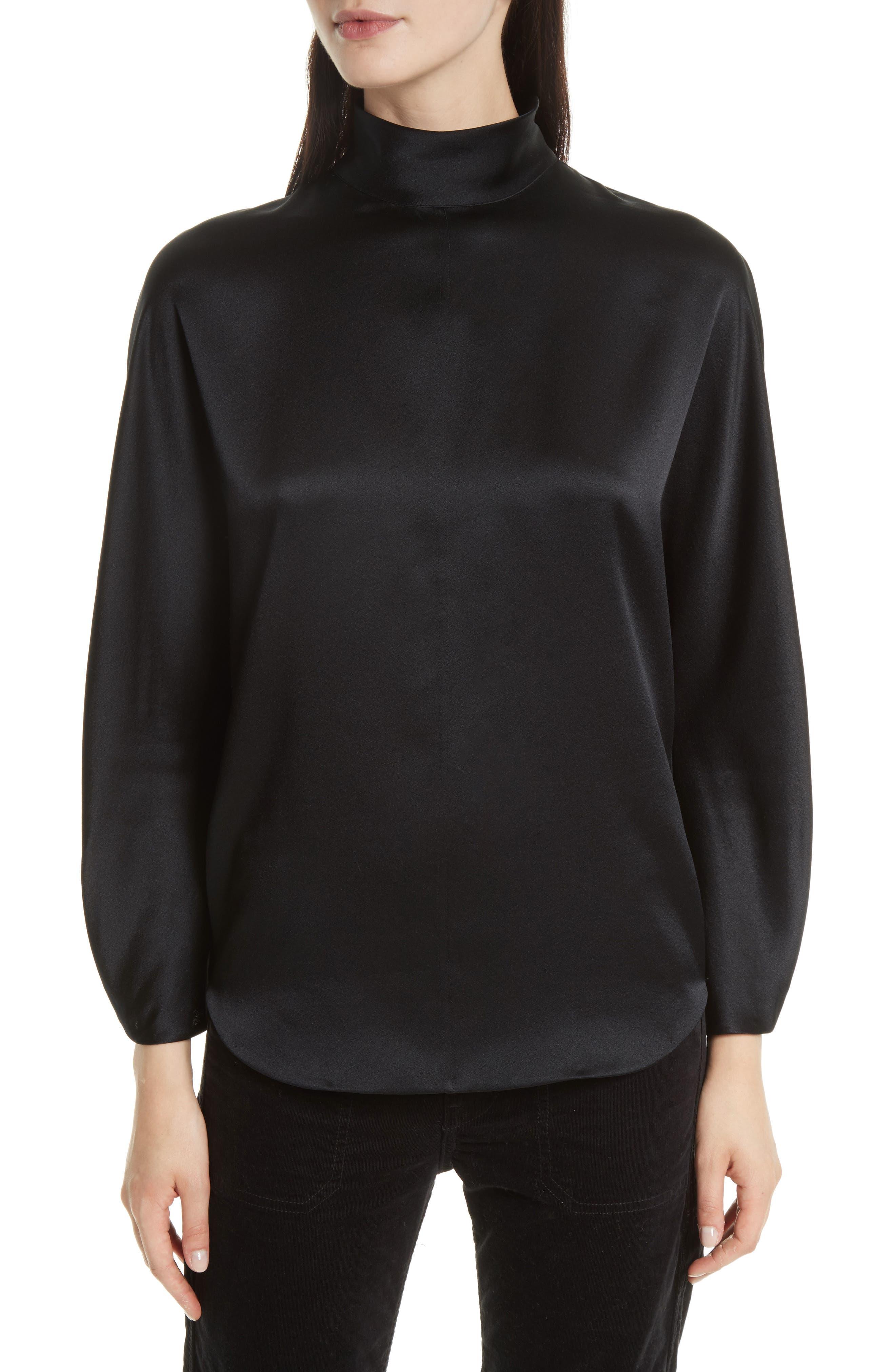 Band Collar Silk Blouse,                         Main,                         color, 001