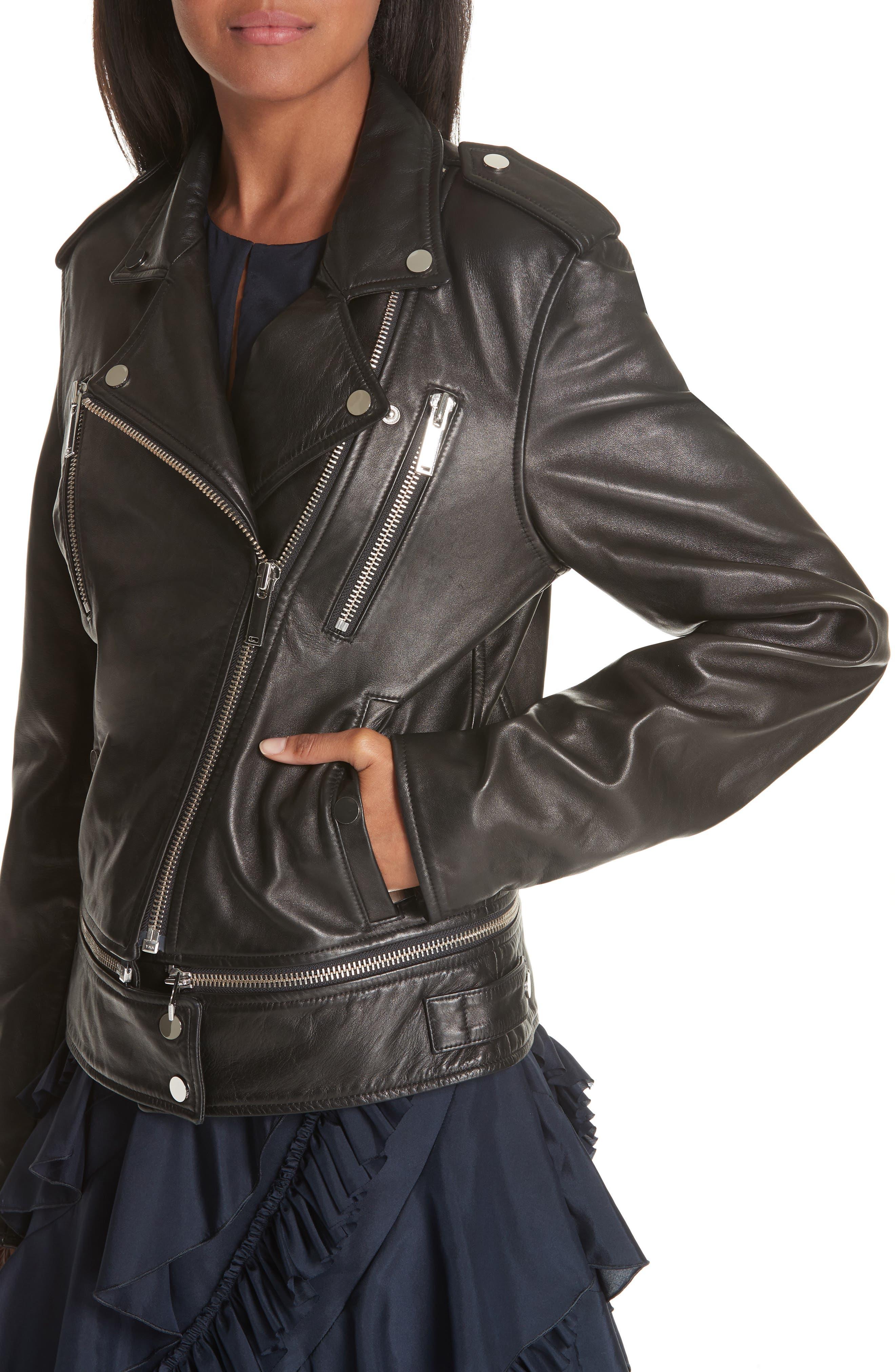 Lambskin Leather Jacket,                             Alternate thumbnail 5, color,                             BLACK