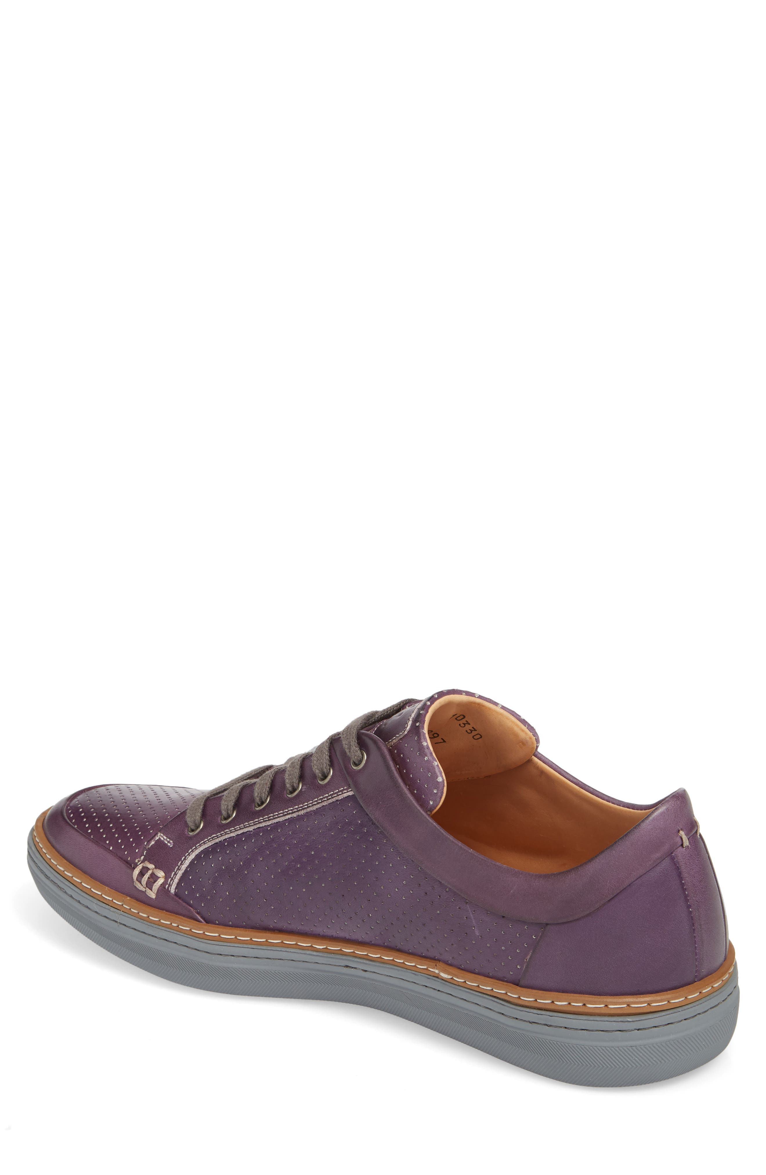Ceres Perforated Low Top Sneaker,                             Alternate thumbnail 2, color,                             PURPLE LEATHER