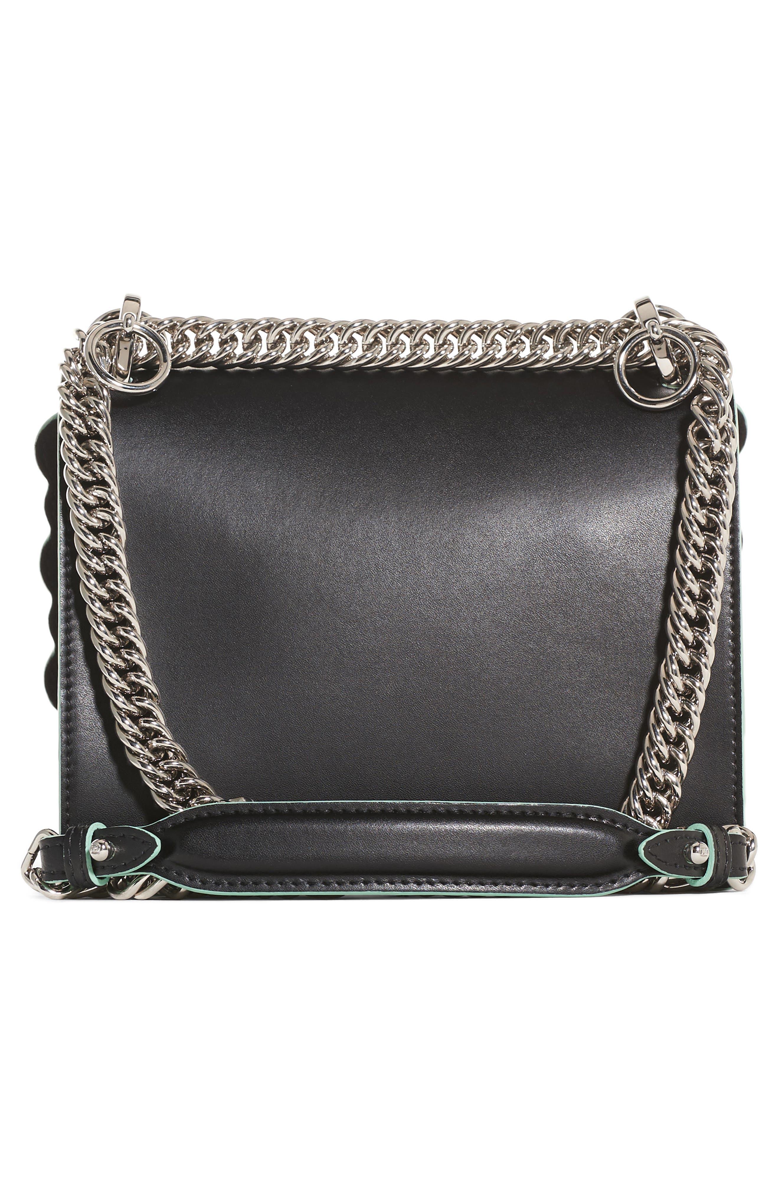 Mini Kan I Dégradé Stud Calfskin Shoulder Bag,                             Alternate thumbnail 3, color,                             BLACK/GREEN MULTI
