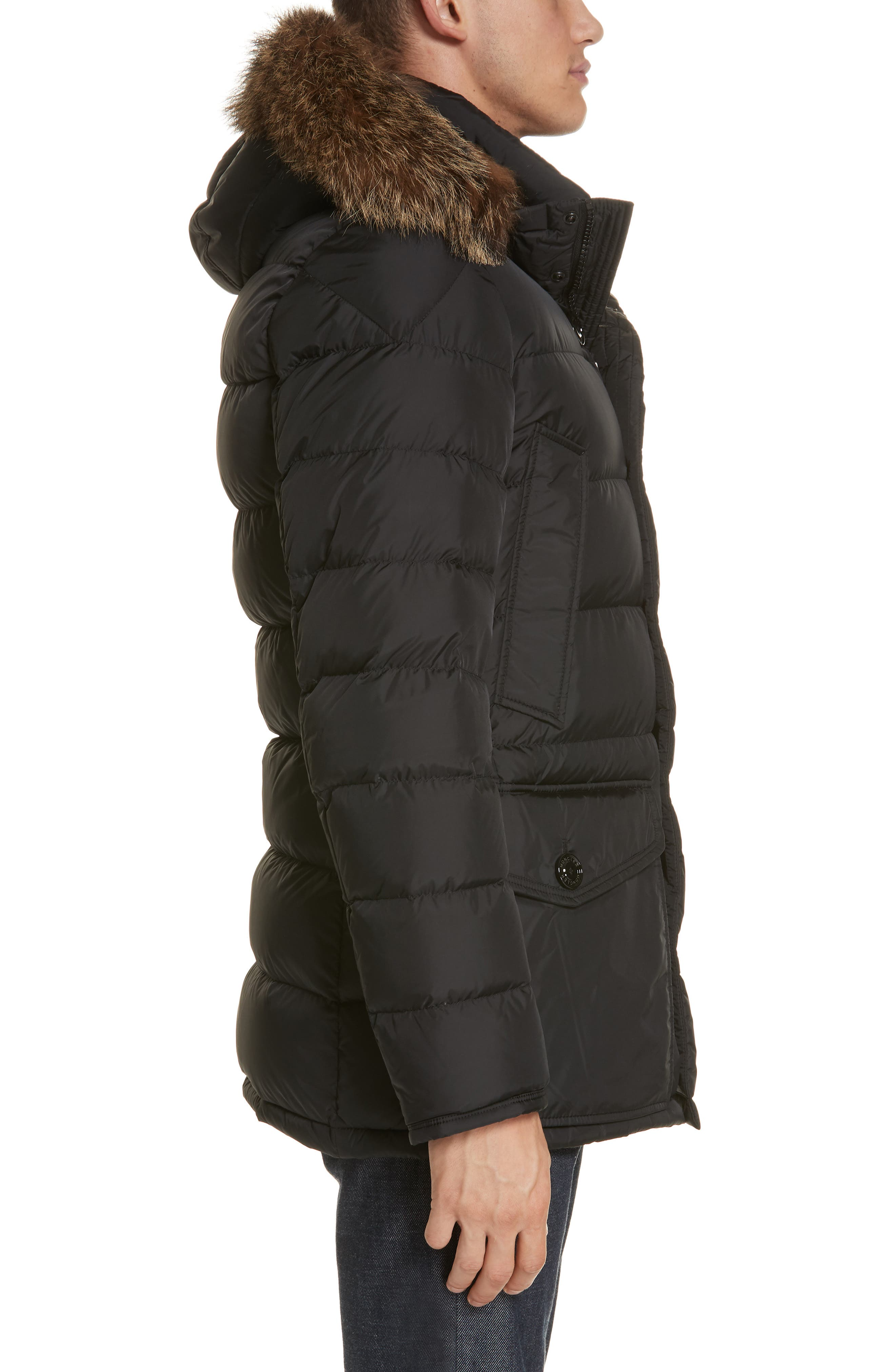 Cluny Giubbotto Down Parka with Genuine Coyote Fur Trim,                             Alternate thumbnail 3, color,                             001