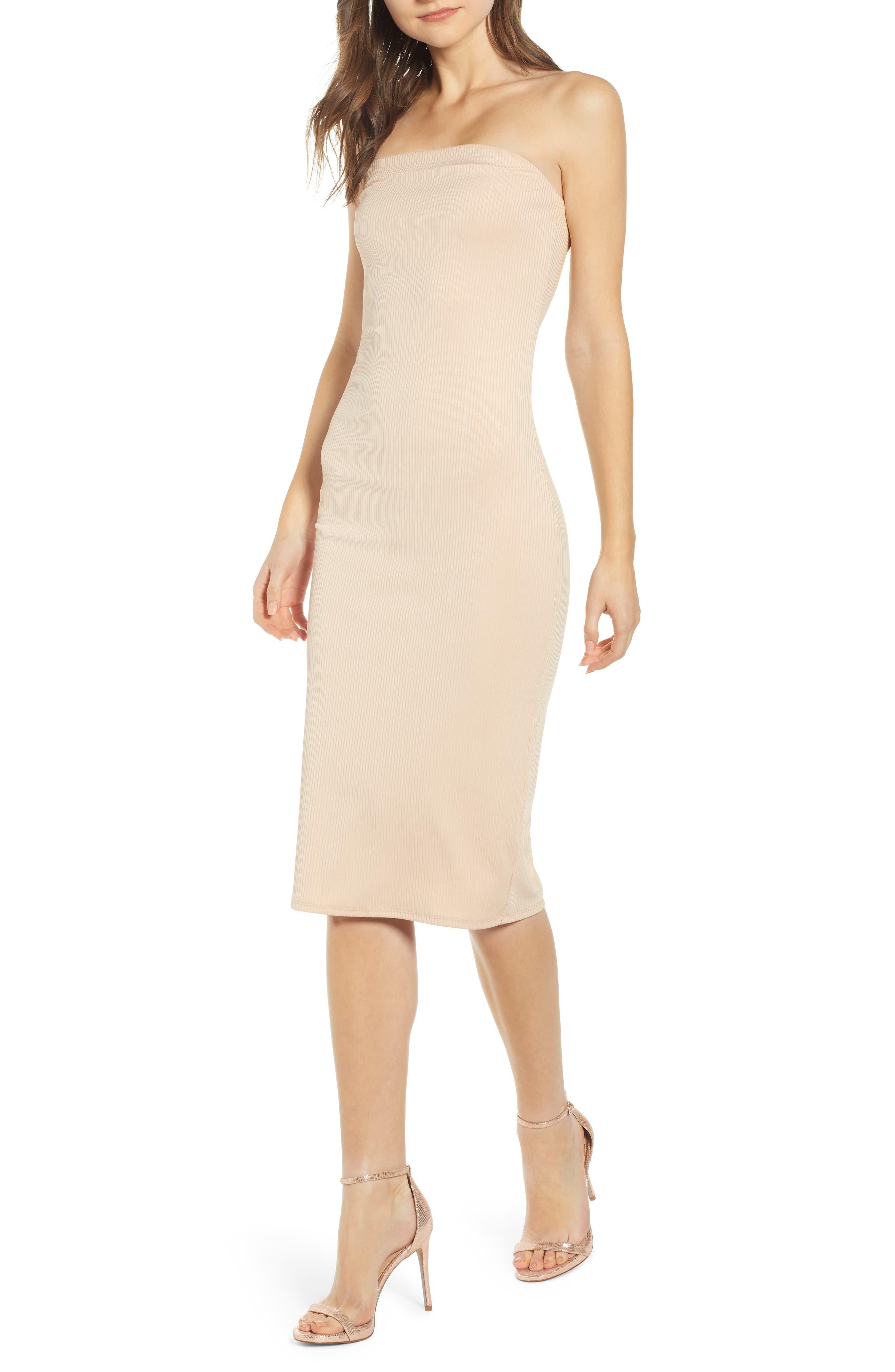 Leith Ribbed Midi Strapless Tube Dress, Beige