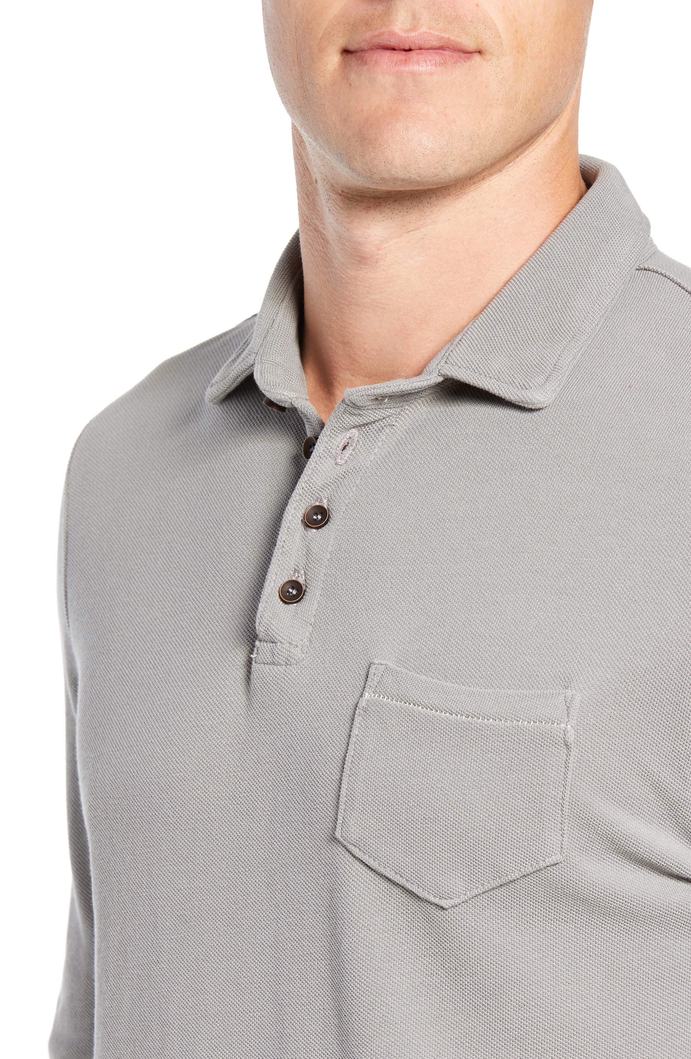 Regular Fit Long Sleeve Piqué Polo,                             Alternate thumbnail 4, color,                             GREY