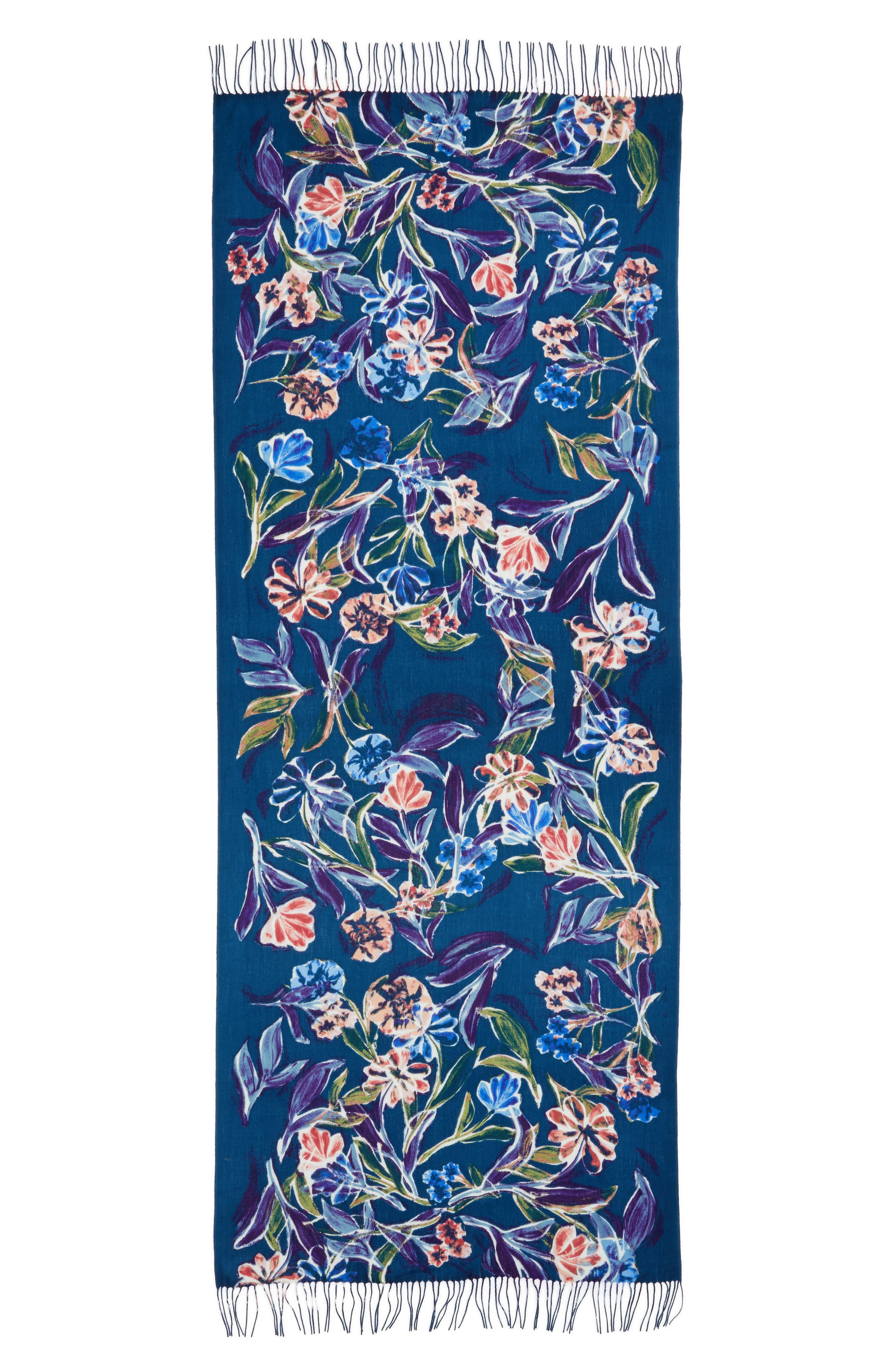 Pressed Flowers Tissue Weight Wool & Cashmere Scarf,                             Alternate thumbnail 8, color,
