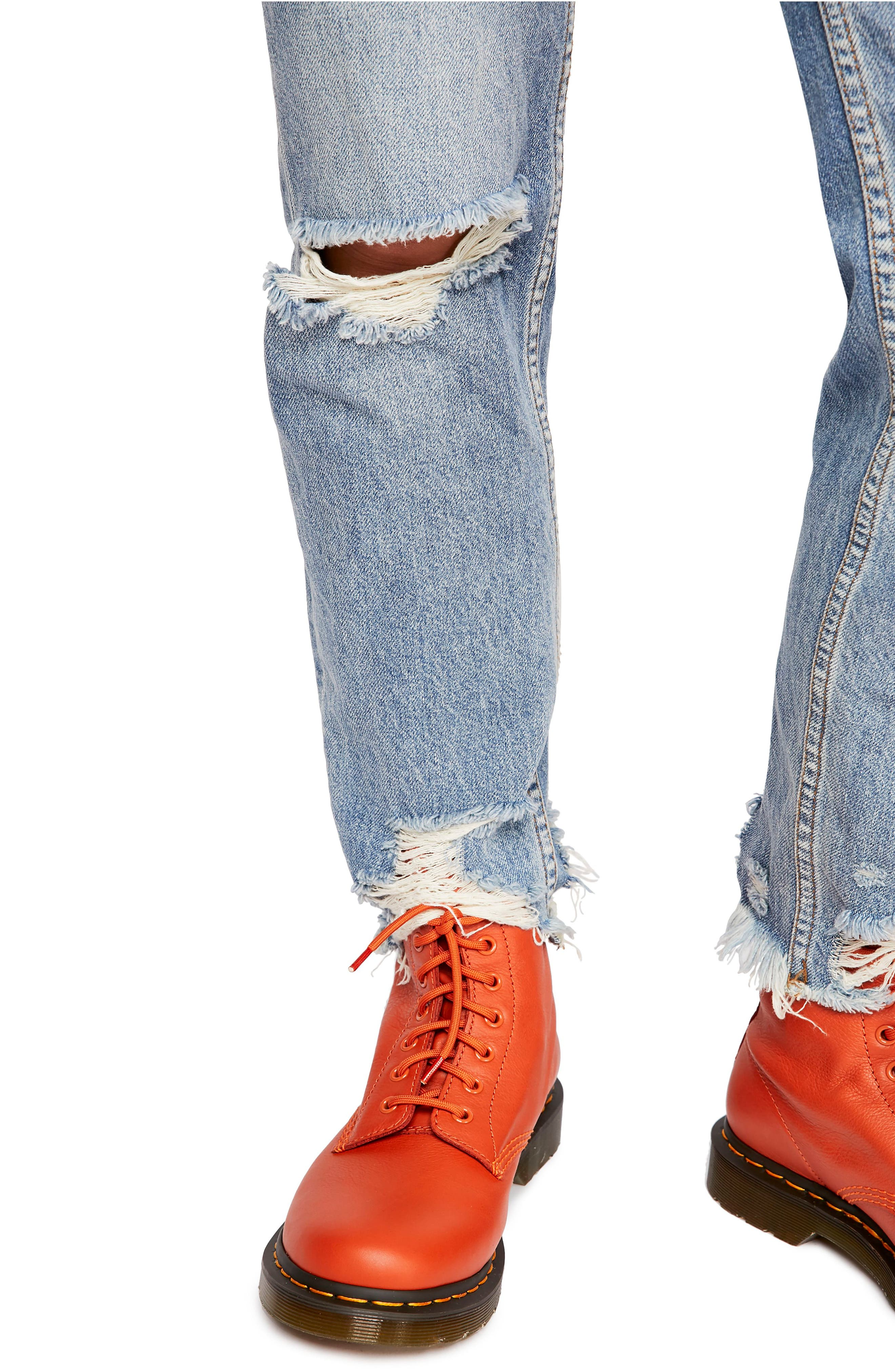 Chewed Up Straight Leg Jeans,                             Alternate thumbnail 3, color,                             INDIGO BLUE