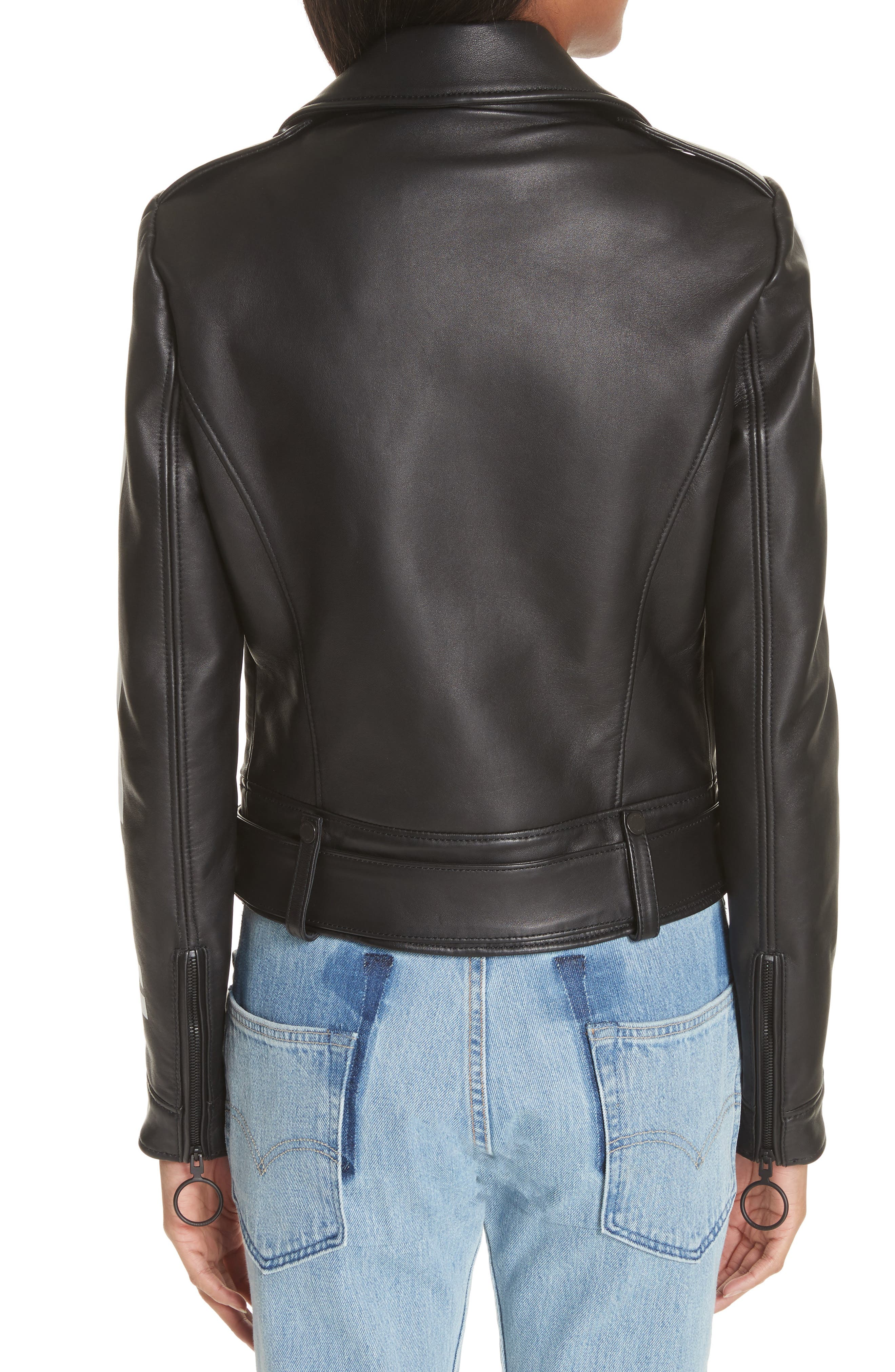 Leather Biker Jacket,                             Alternate thumbnail 2, color,