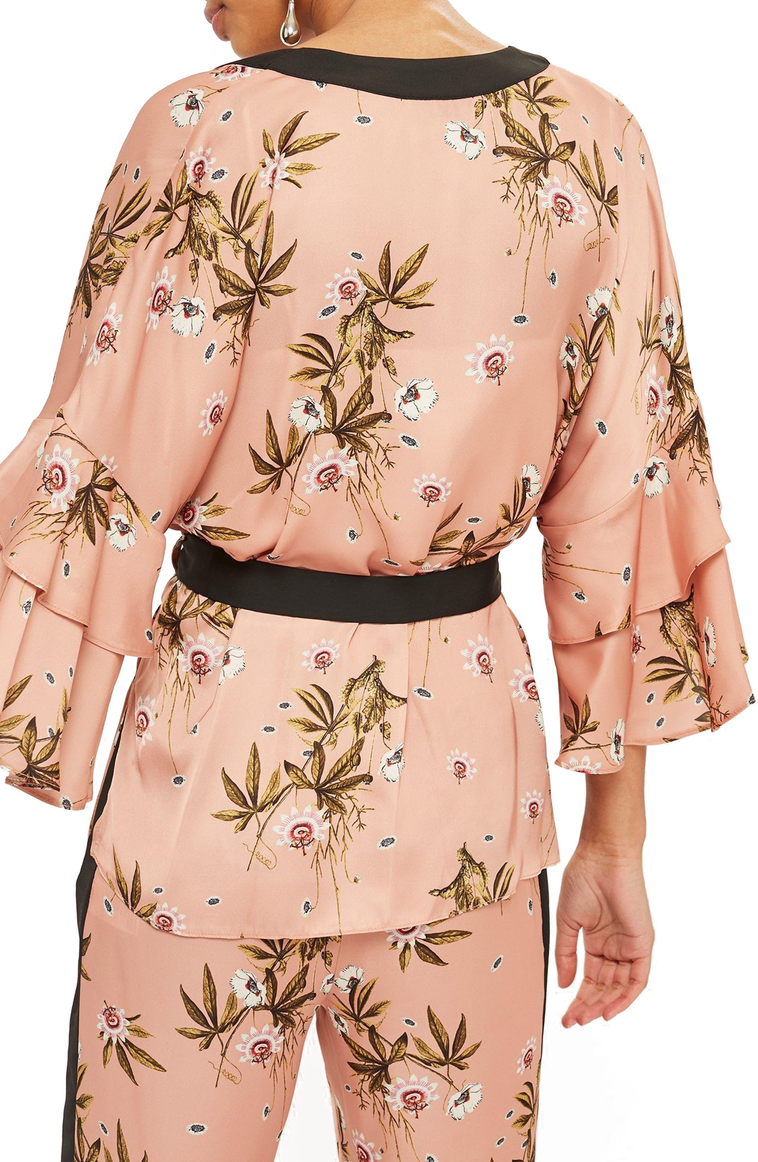 Penel Frill Floral Kimono,                             Alternate thumbnail 2, color,                             BLUSH