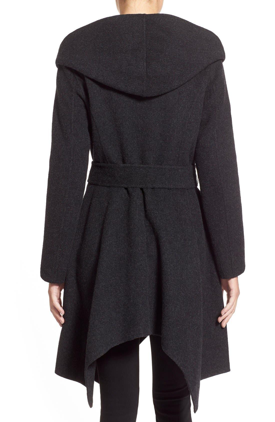'Sophia' Belted Wool Blend Hooded Asymmetrical Coat,                             Alternate thumbnail 2, color,                             034