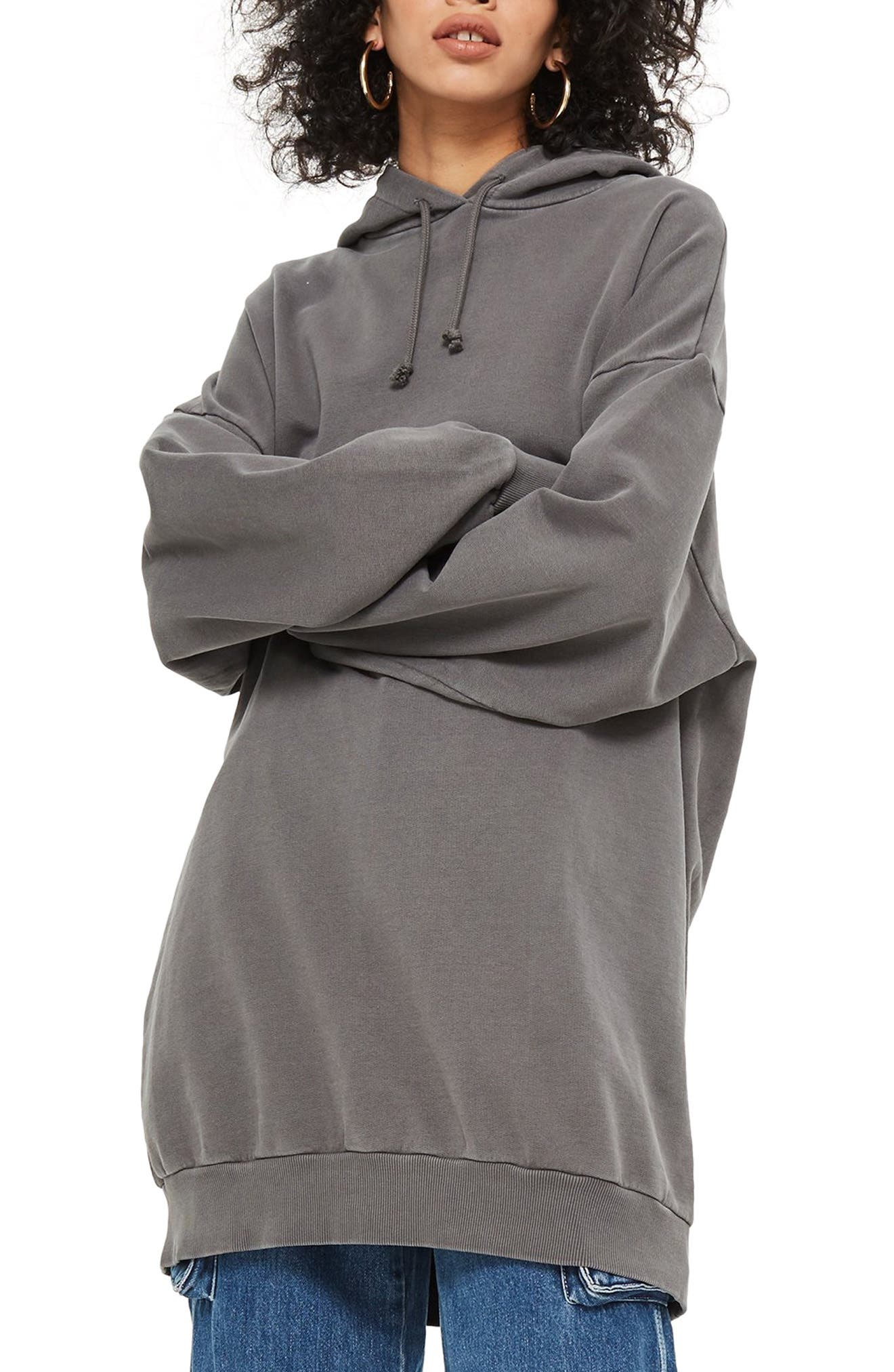 Longline Hoodie,                             Main thumbnail 1, color,                             GREY MARL