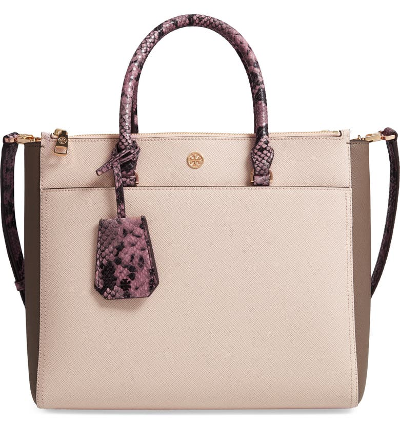 f38340a20aad TORY BURCH. Robinson Colorblock Double Zip Leather Tote - Pink in Pale  Apricot ...