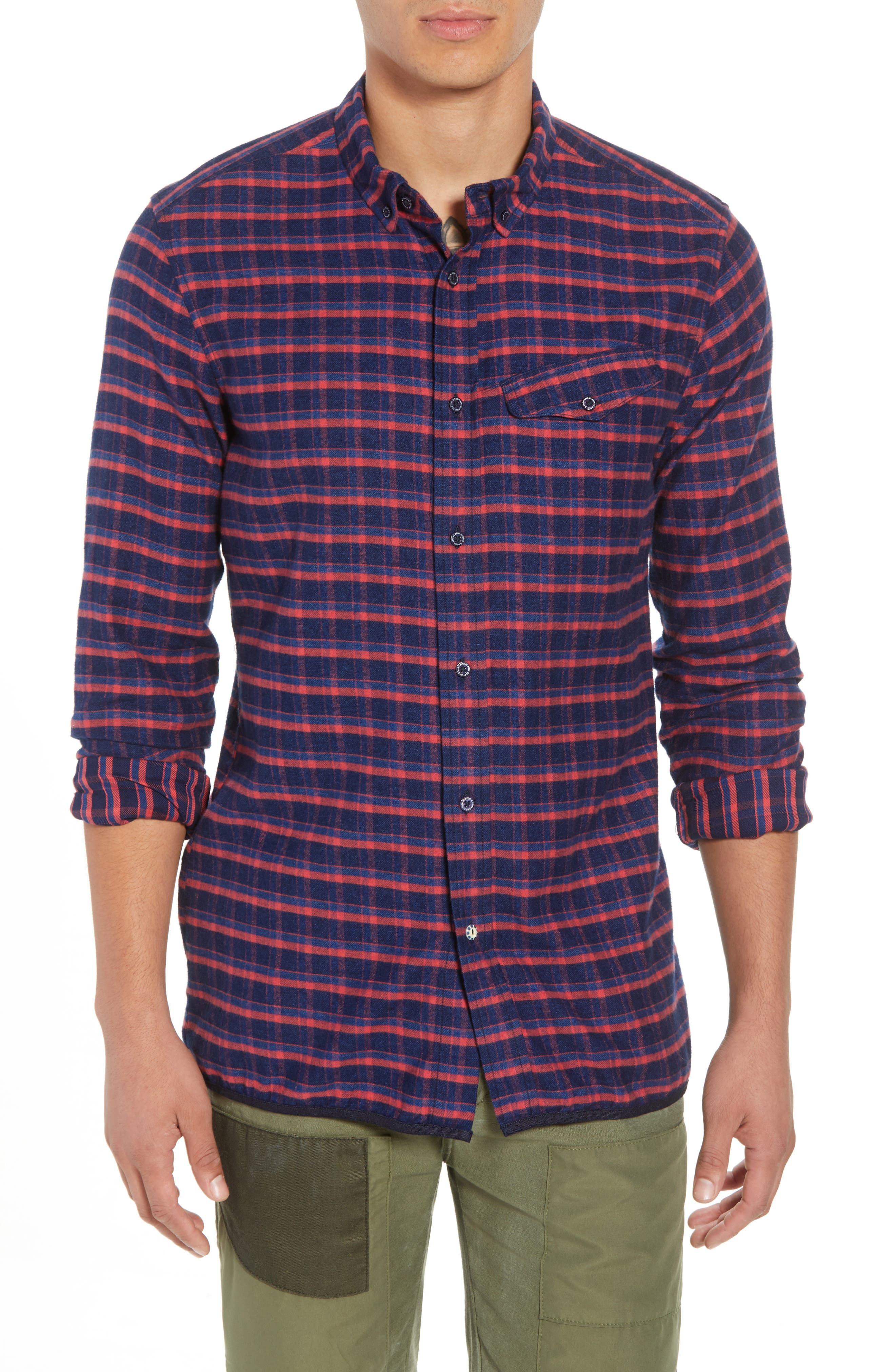 Amsterdams Blauw Check Flannel Sport Shirt,                         Main,                         color, 411