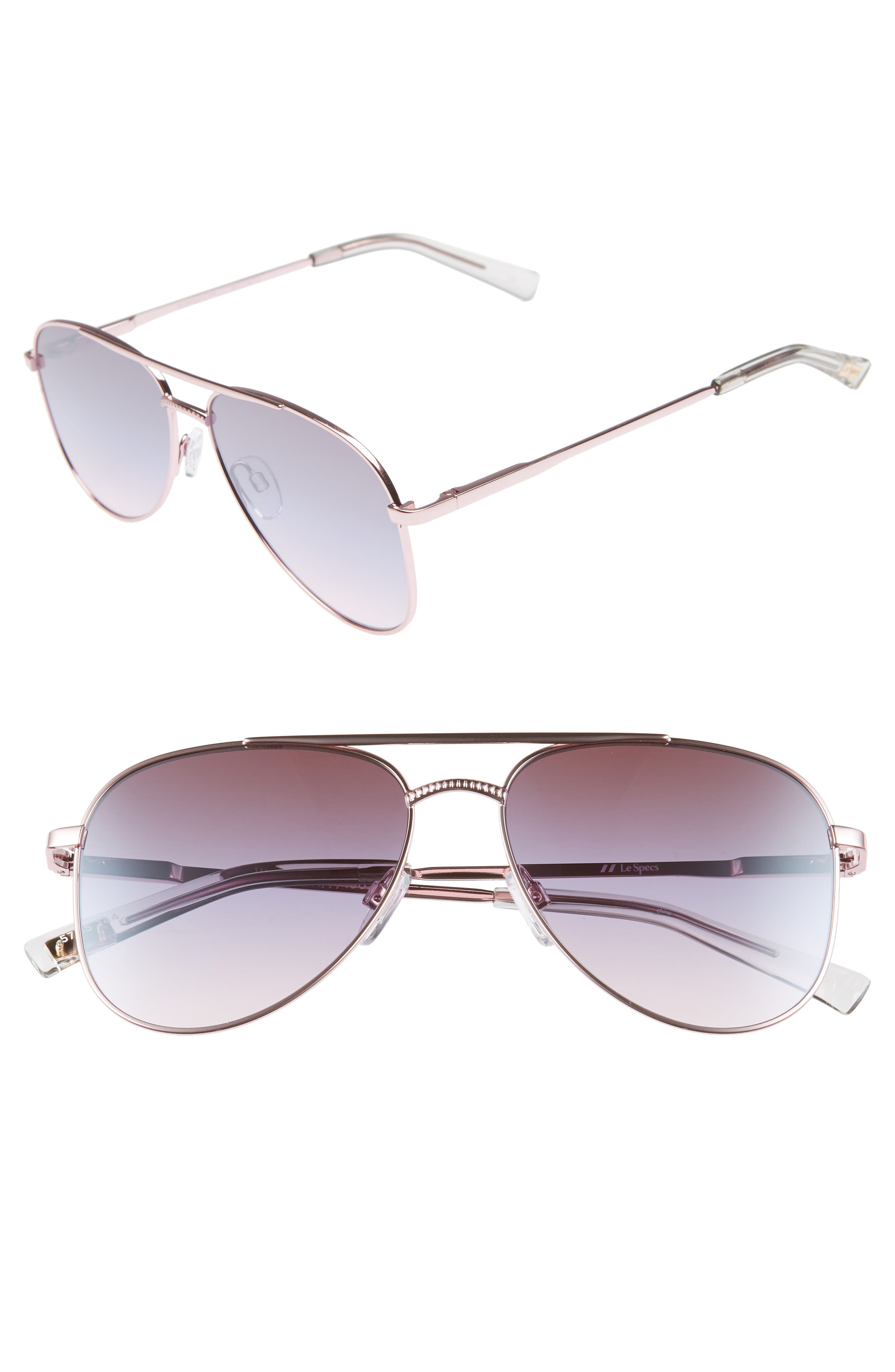 Kingdom 57mm Aviator Sunglasses,                         Main,                         color, ROSE GOLD
