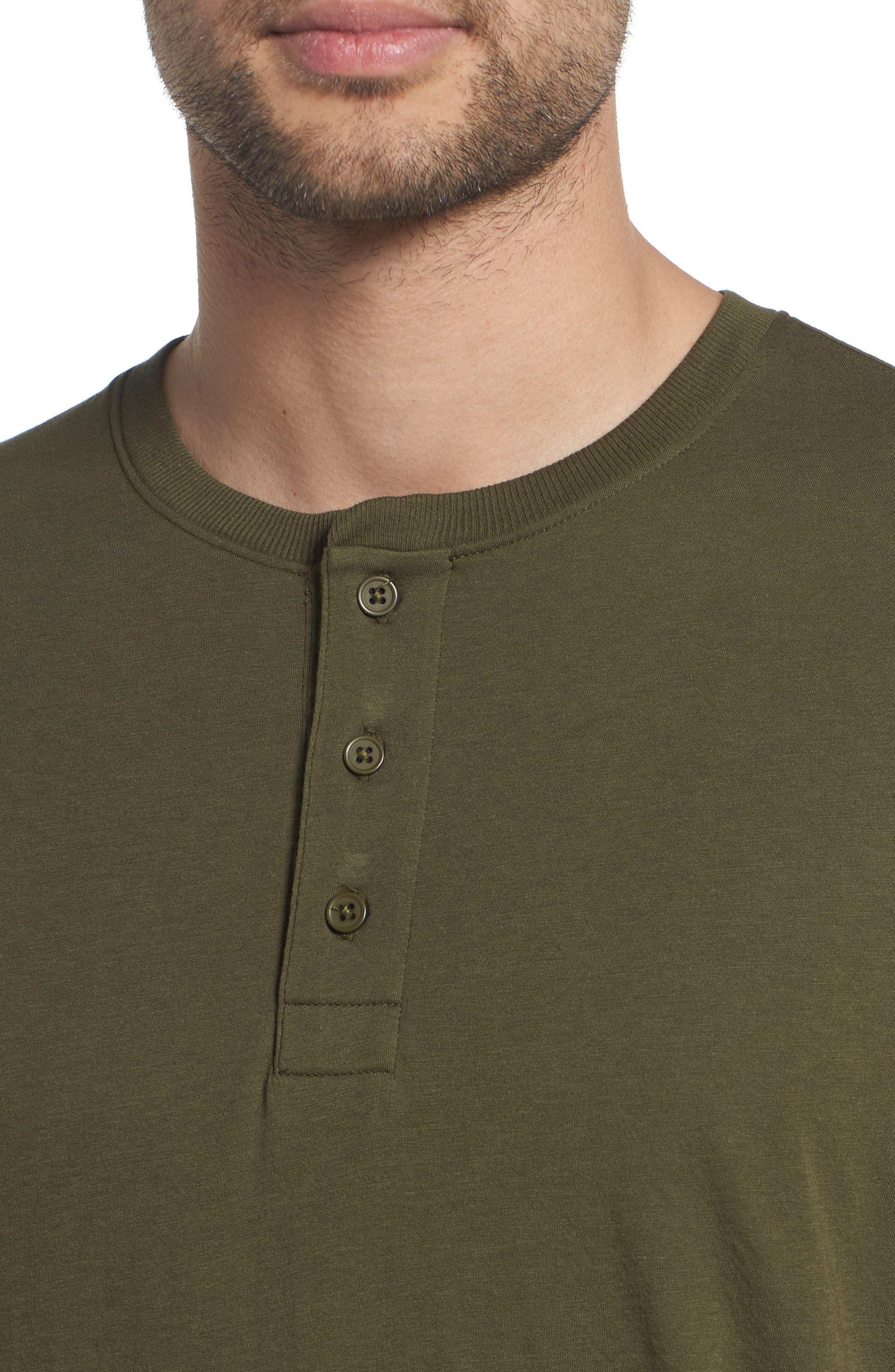 Layered Henley T-Shirt,                             Alternate thumbnail 4, color,                             FOLIAGE