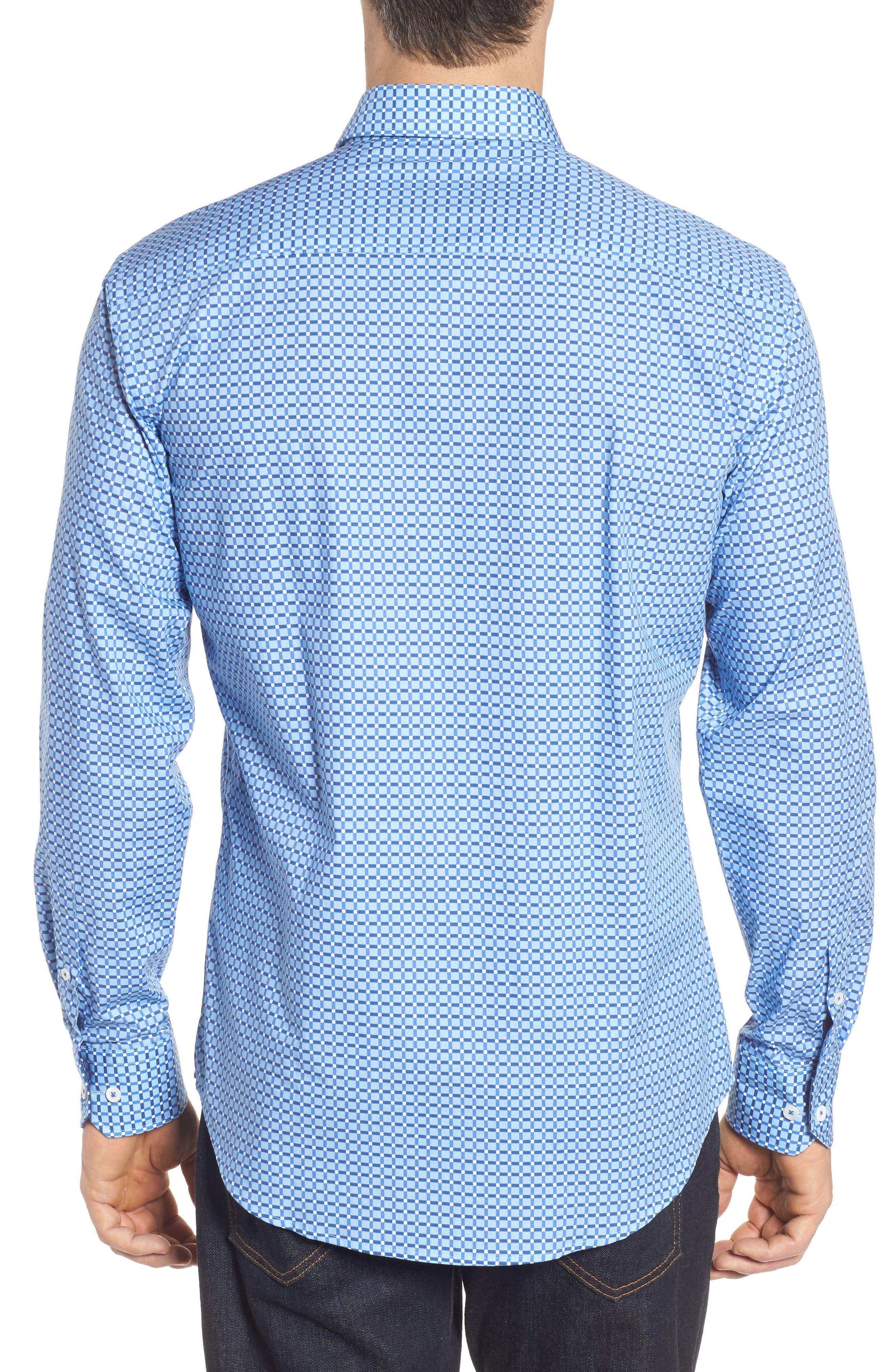 Shaped Fit Print Sport Shirt,                             Alternate thumbnail 9, color,