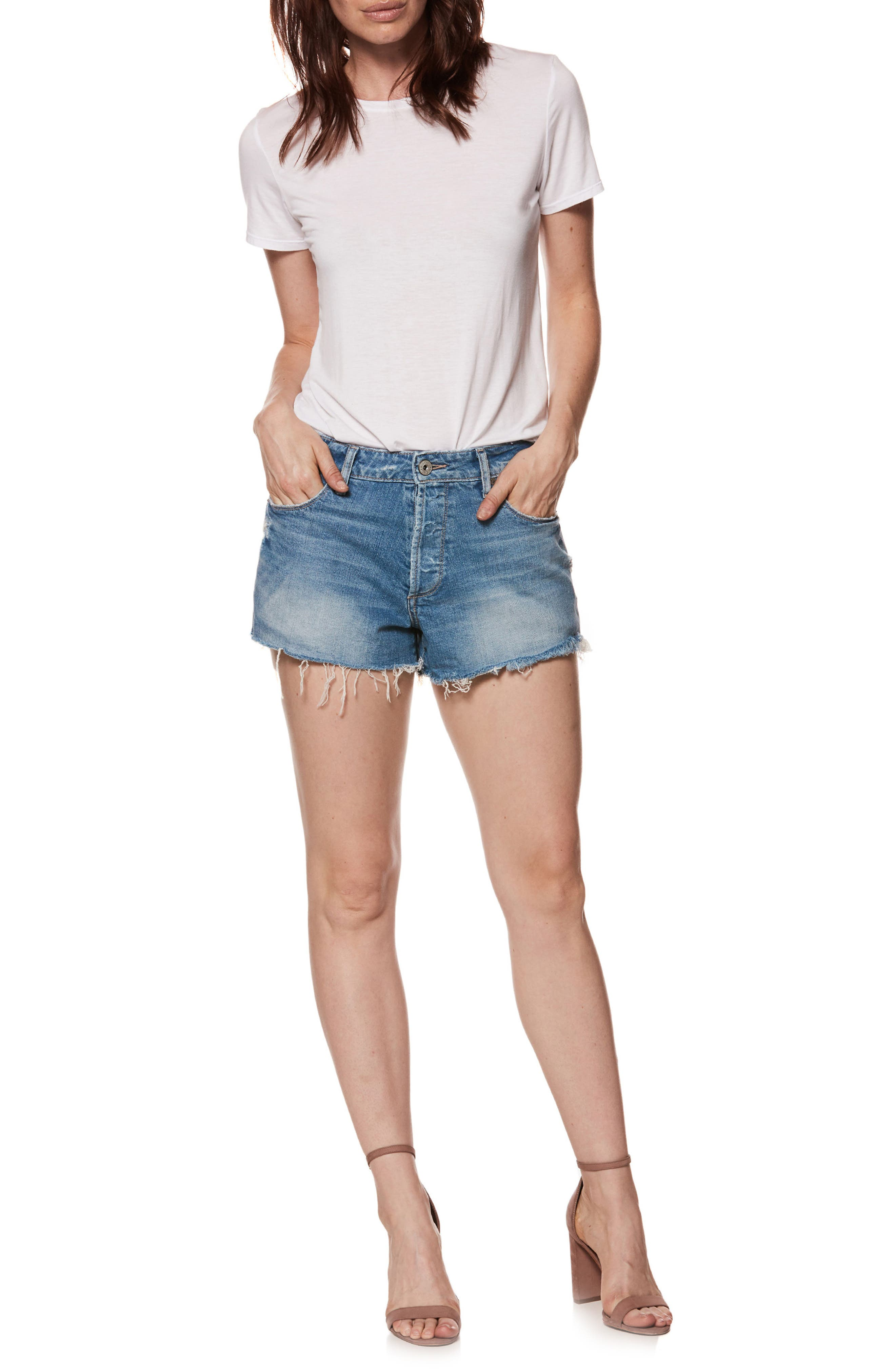 Emmitt High Waist Cutoff Denim Shorts,                             Alternate thumbnail 8, color,                             JANIS DESTRUCTED