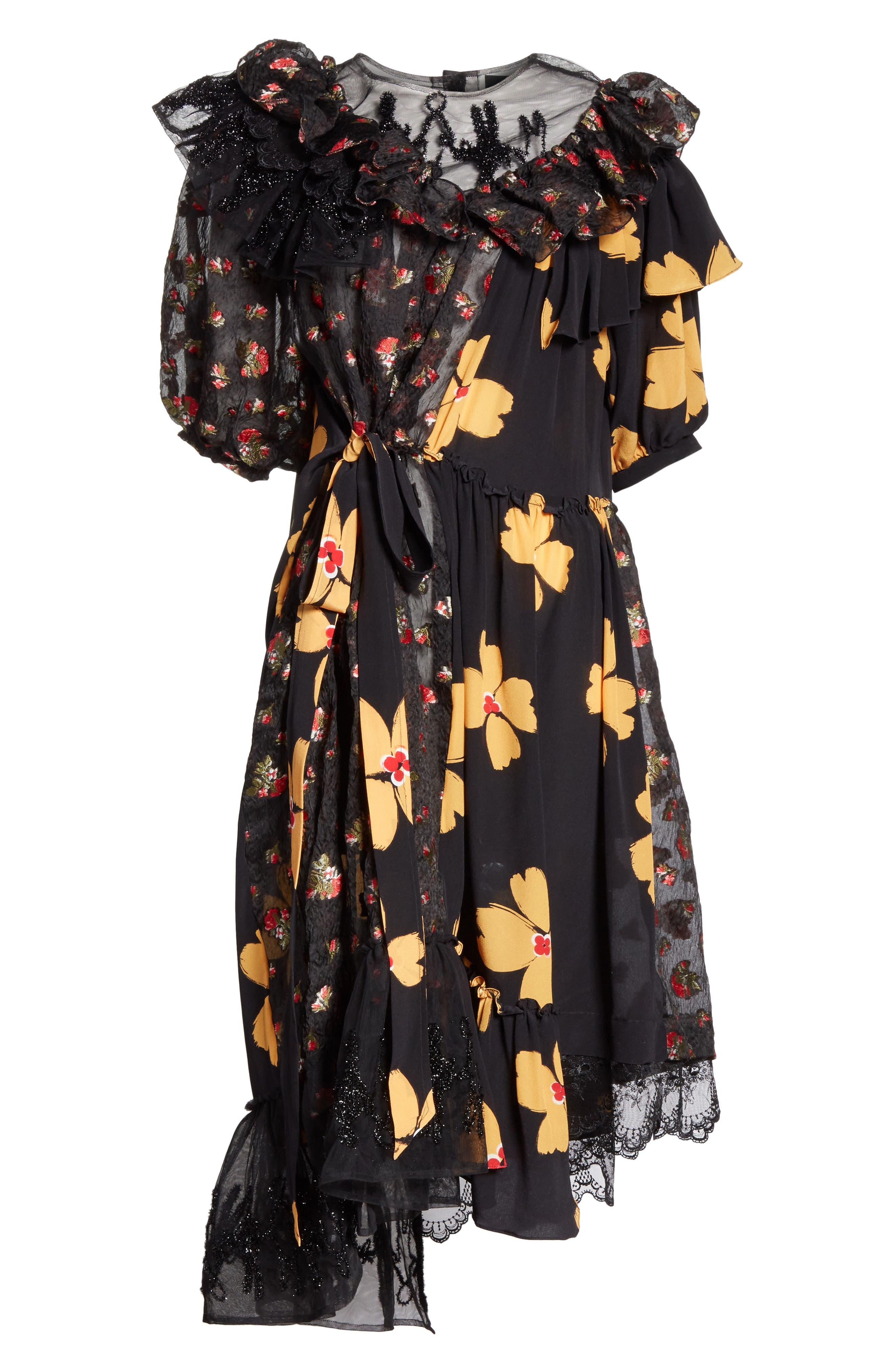 Frill Patchwork Dress,                             Alternate thumbnail 6, color,                             001