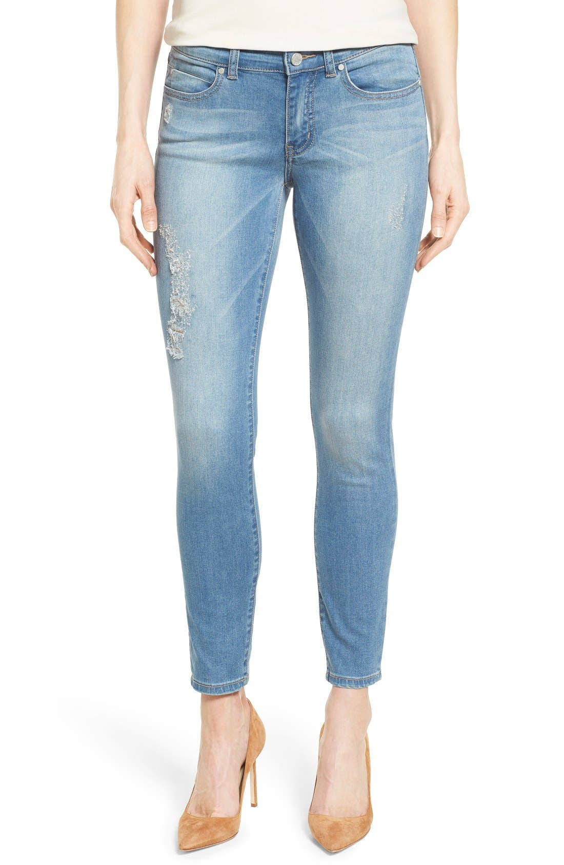 Distressed Ankle Skinny Jeans,                         Main,                         color, 400