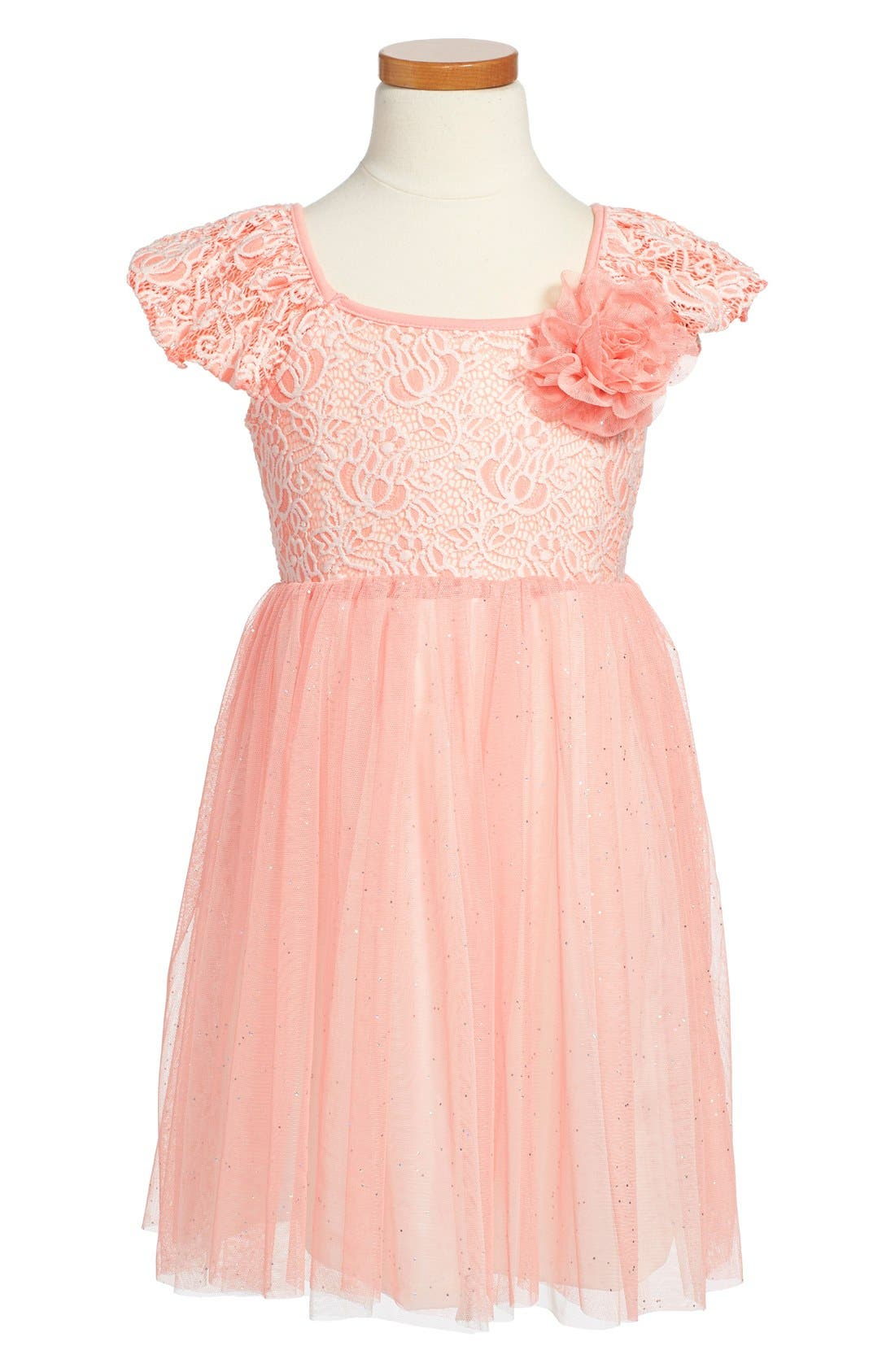 Tulle Skirt Party Dress,                             Main thumbnail 1, color,                             PINK