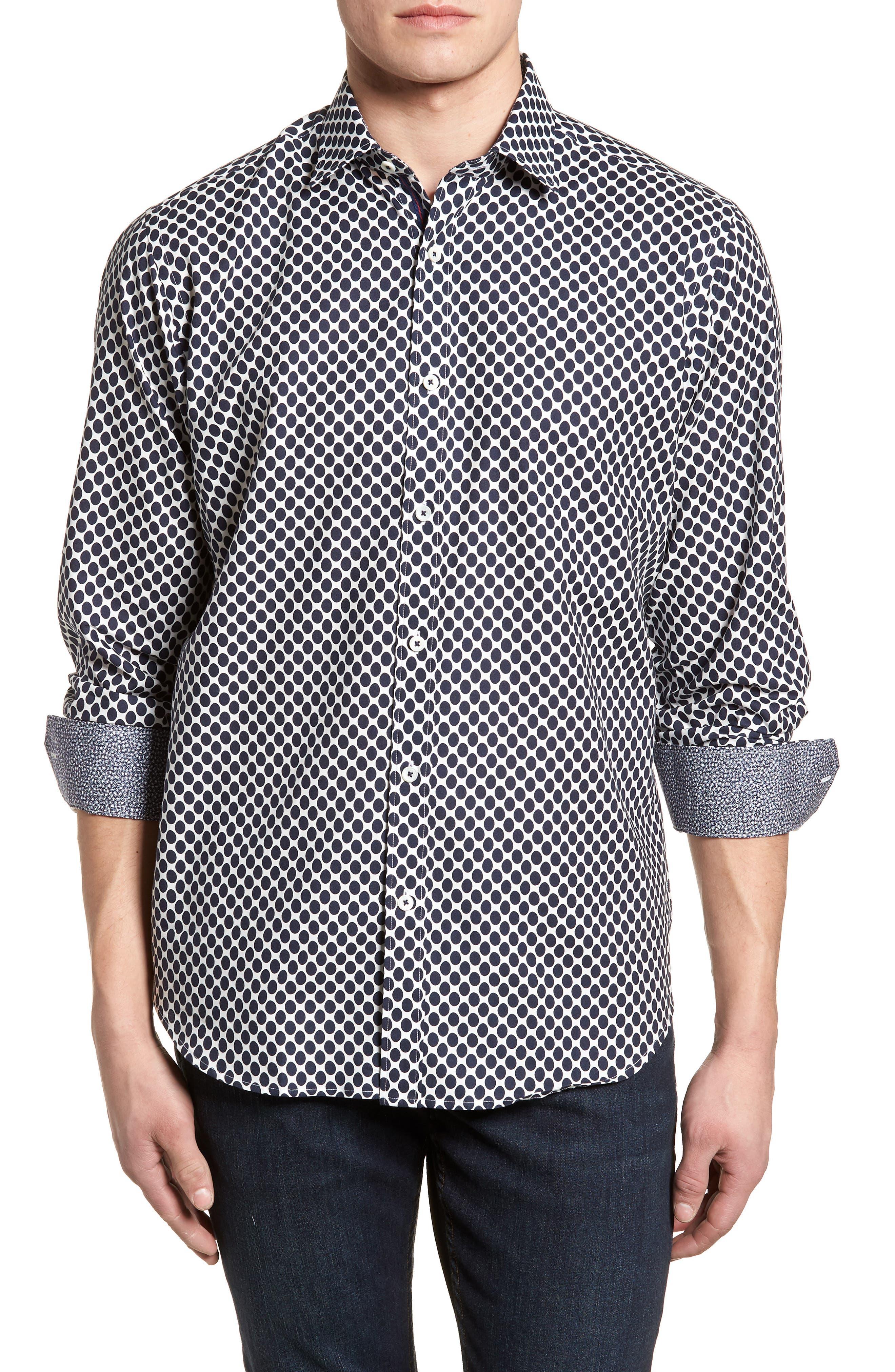 Classic Fit Woven Sport Shirt,                             Main thumbnail 1, color,                             NAVY